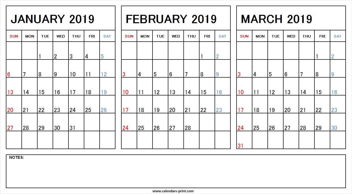 January February March 2019 Calendar With Notes | Calendars Prin Calendar 2019 Jan Feb Mar