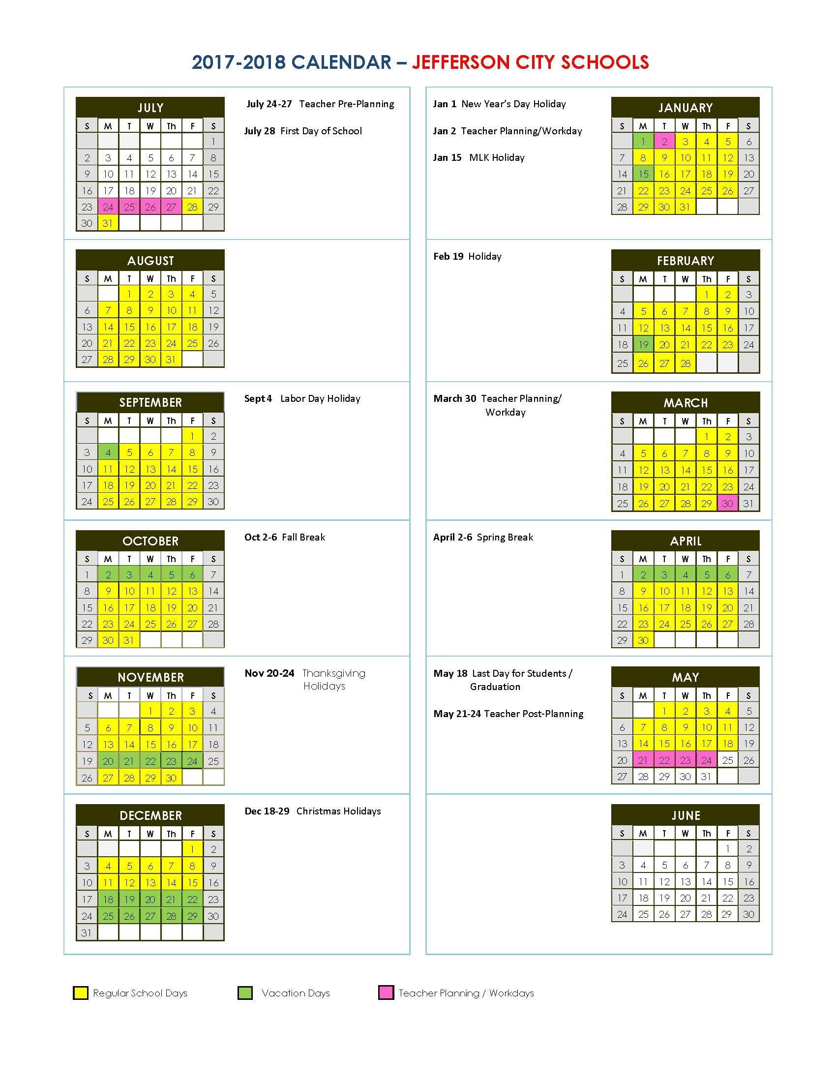 Jefferson City Schools Gwinnett County School Calendar 2019 20