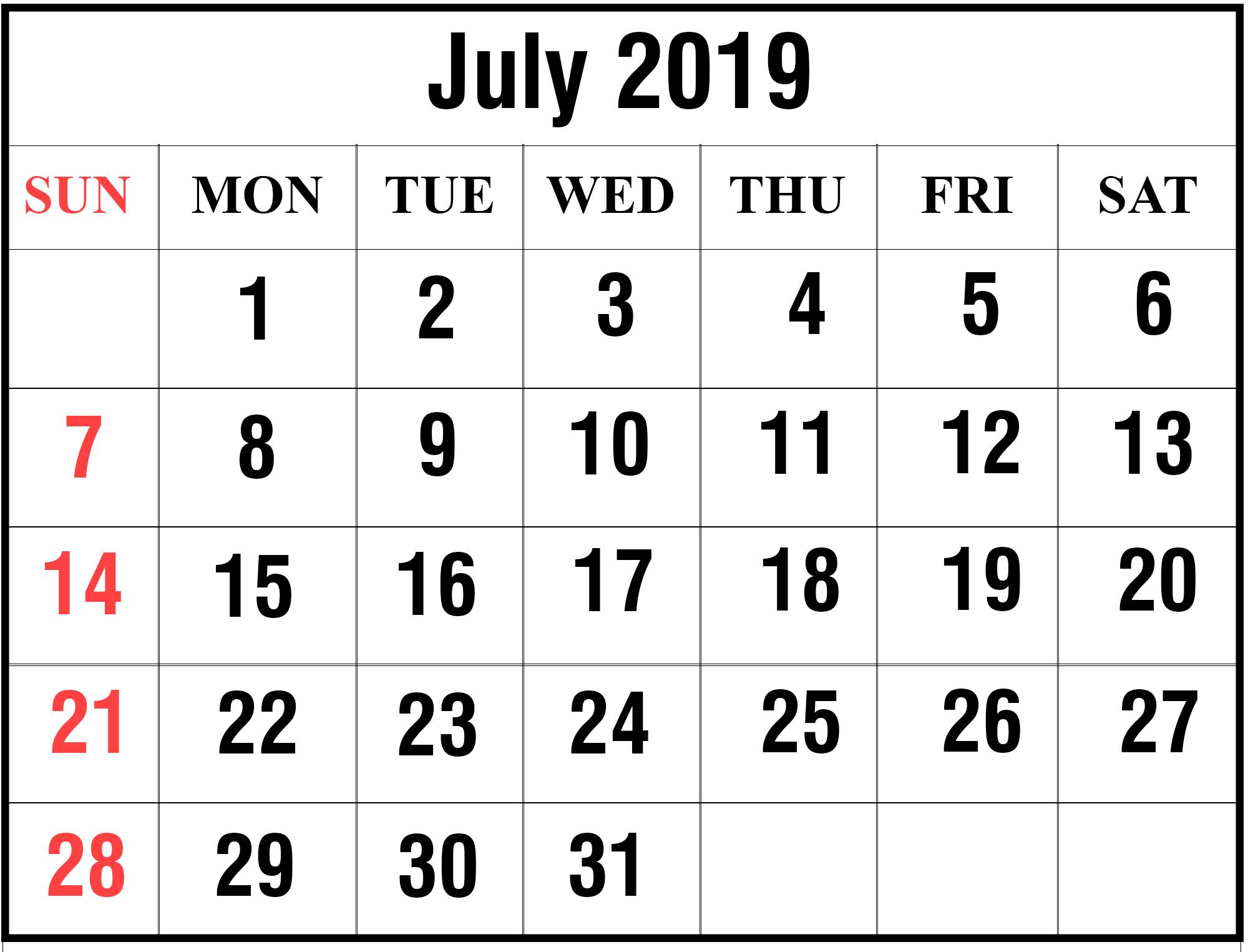 July 2019 3 – Printable Calendar Diy July 3 2019 Calendar