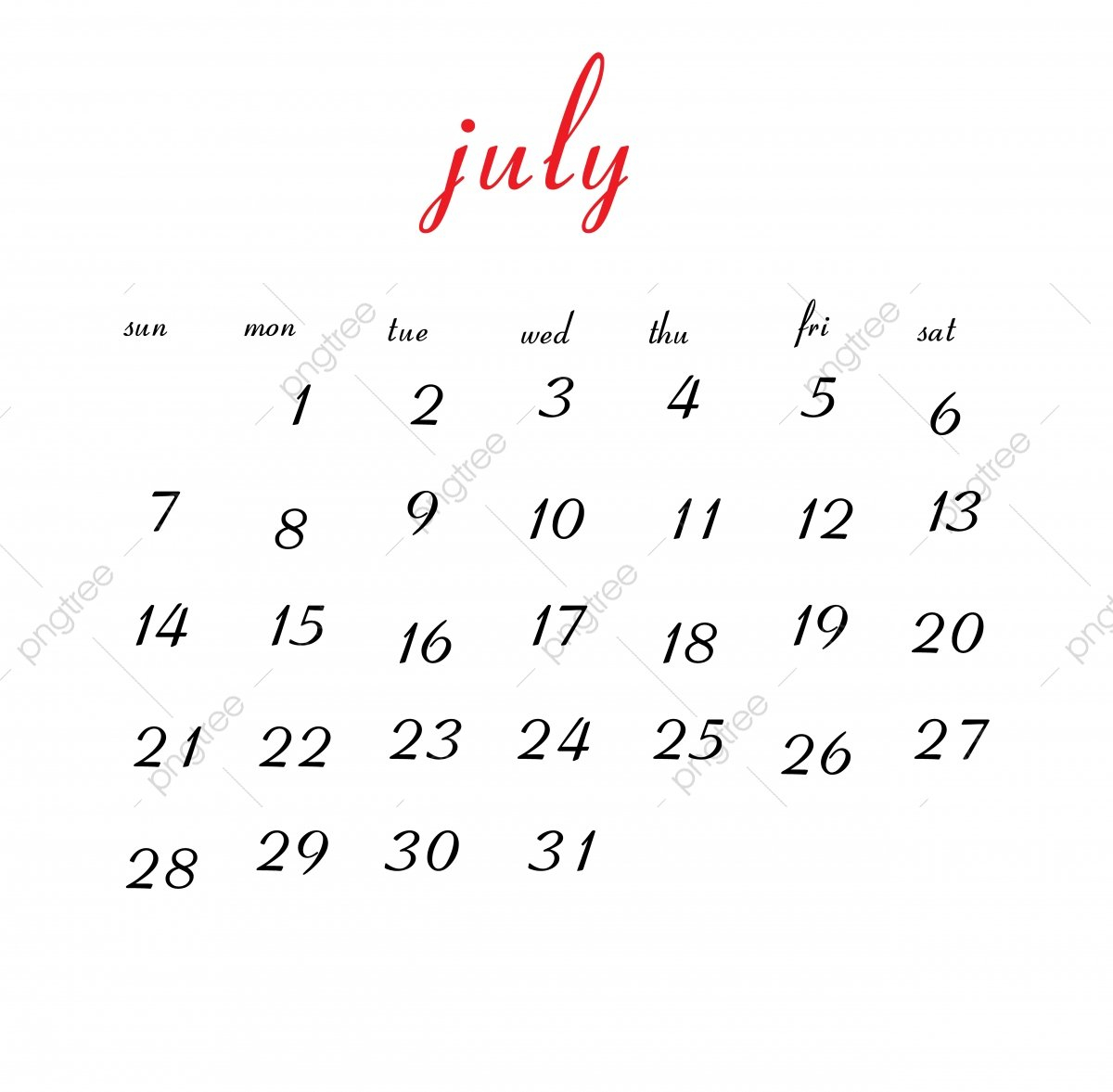 July 2019 Calendar, Calendar, Clean, White Png And Vector With July 8 2019 Calendar