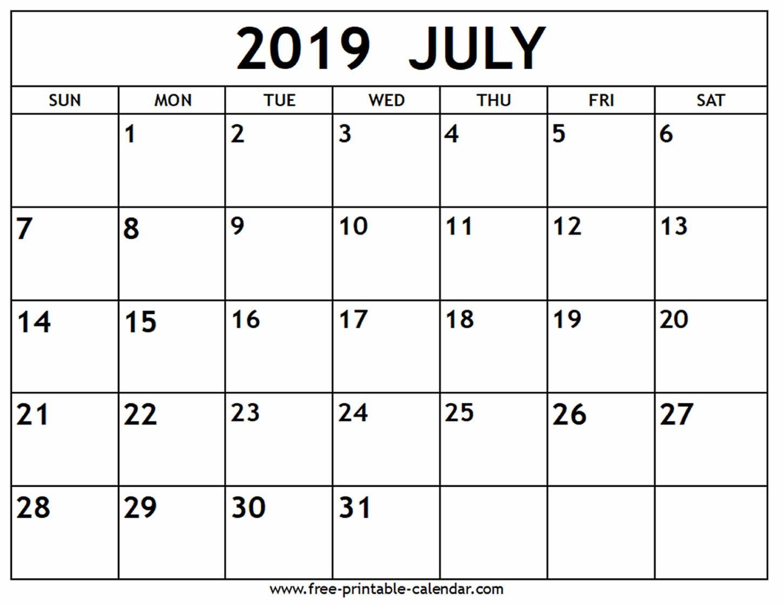 July 2019 Calendar – Free Printable Calendar Printable 2019 Calendar