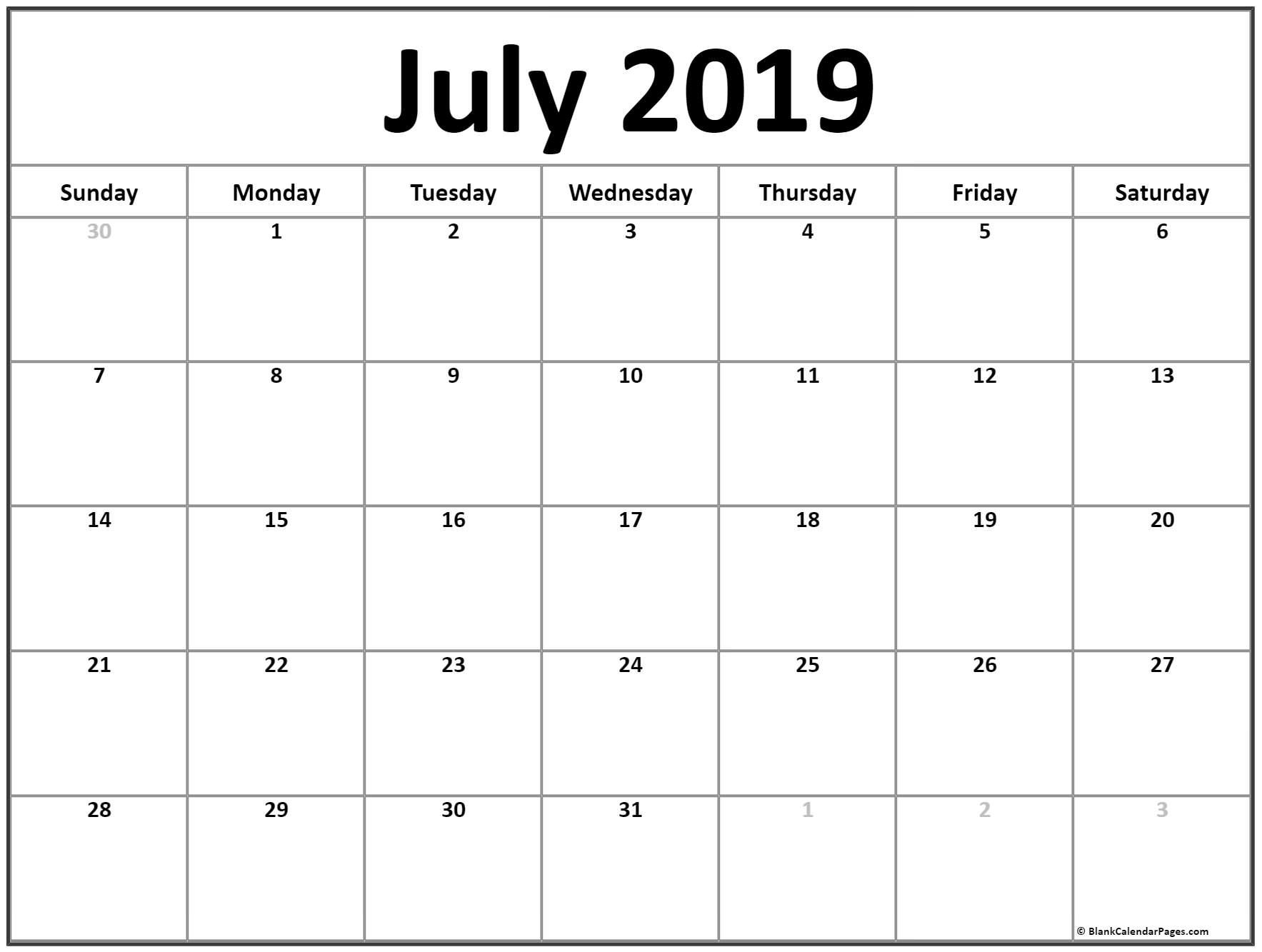 July 2019 Calendar | Free Printable Monthly Calendars Calendar 2019 Pages