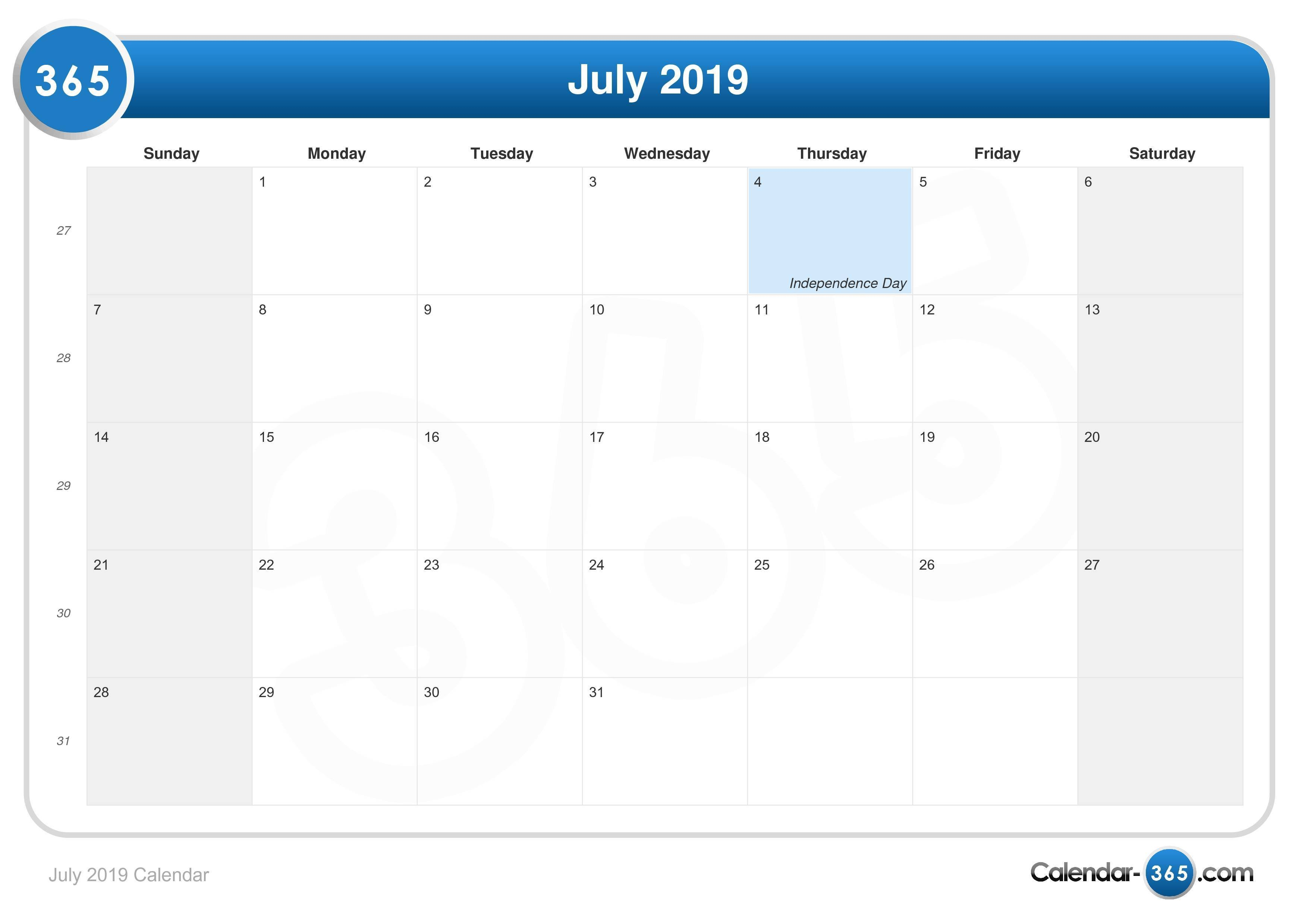 July 2019 Calendar July 4 2019 Calendar