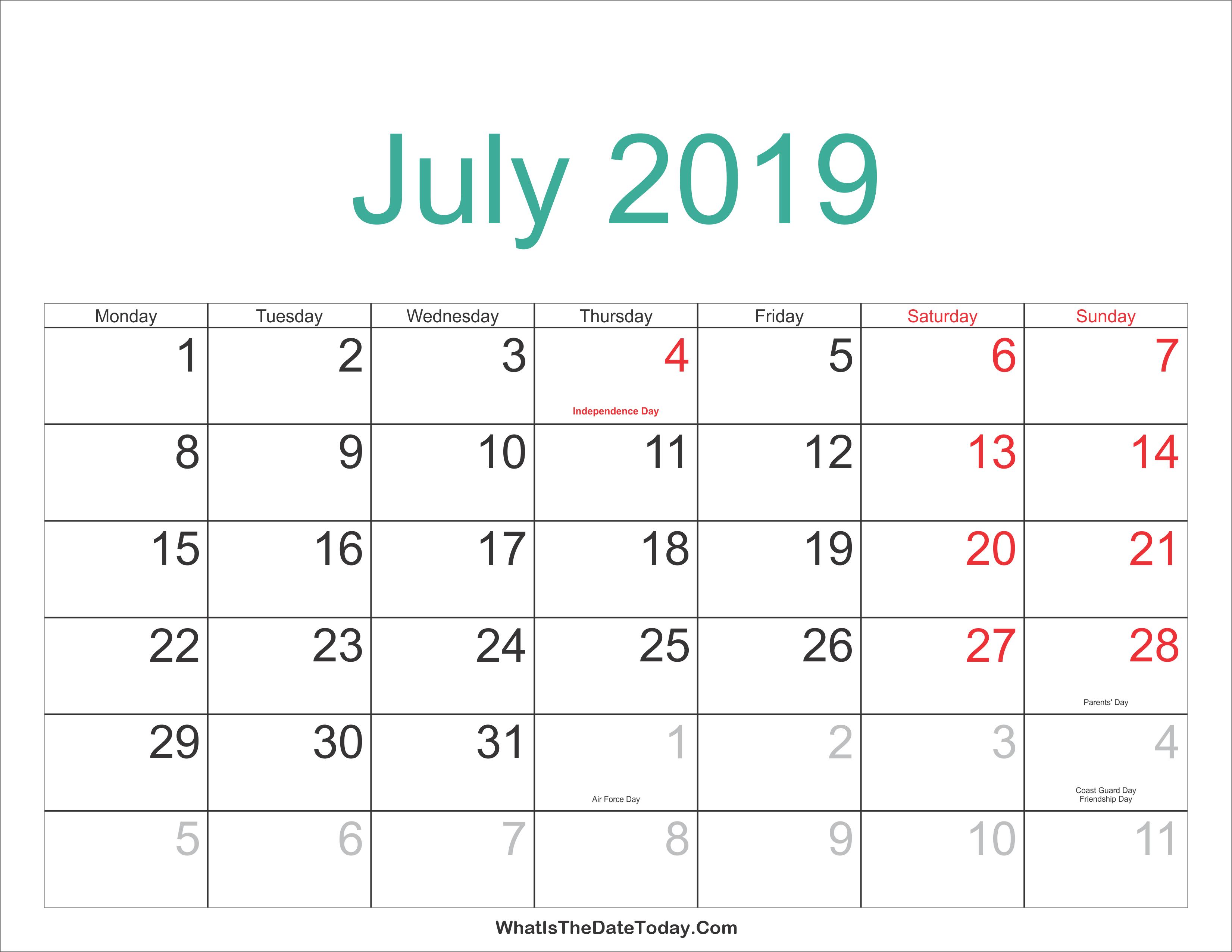 July 2019 Calendar Malaysia July 4 2019 Calendar