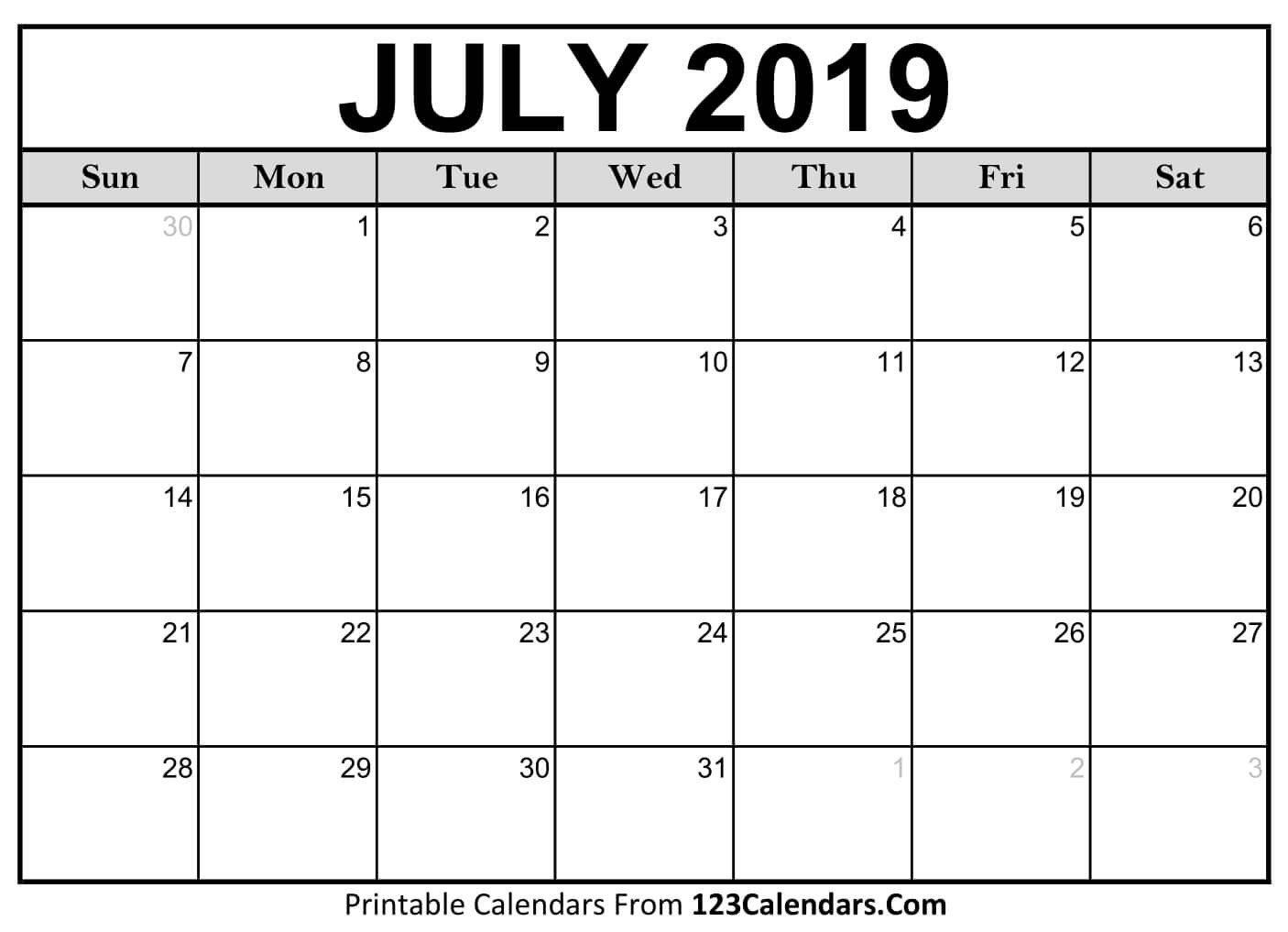 July 2019 Calendar   Otohondalongan July 1 2019 Calendar