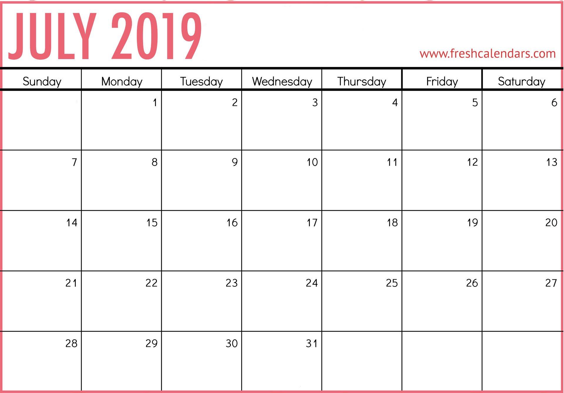 July 2019 Calendar Printable – Fresh Calendars Calendar 2019 July
