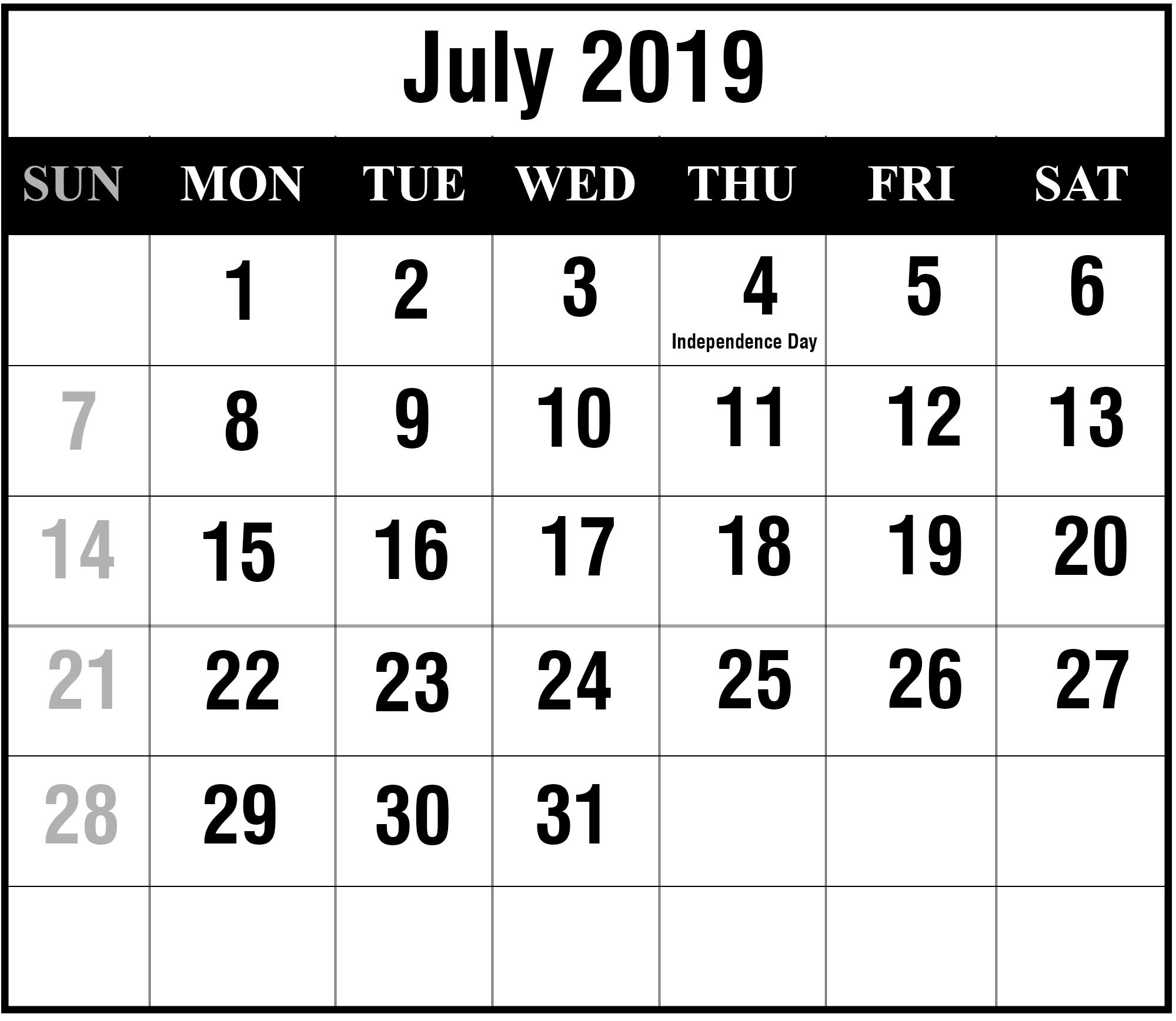 July 2019 Calendar Printable   July Blank Calendar Template July 4 2019 Calendar