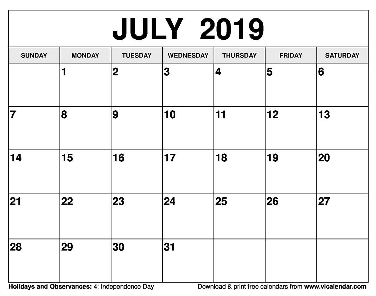 July 2019 Calendar Printable Templates July 4 2019 Calendar