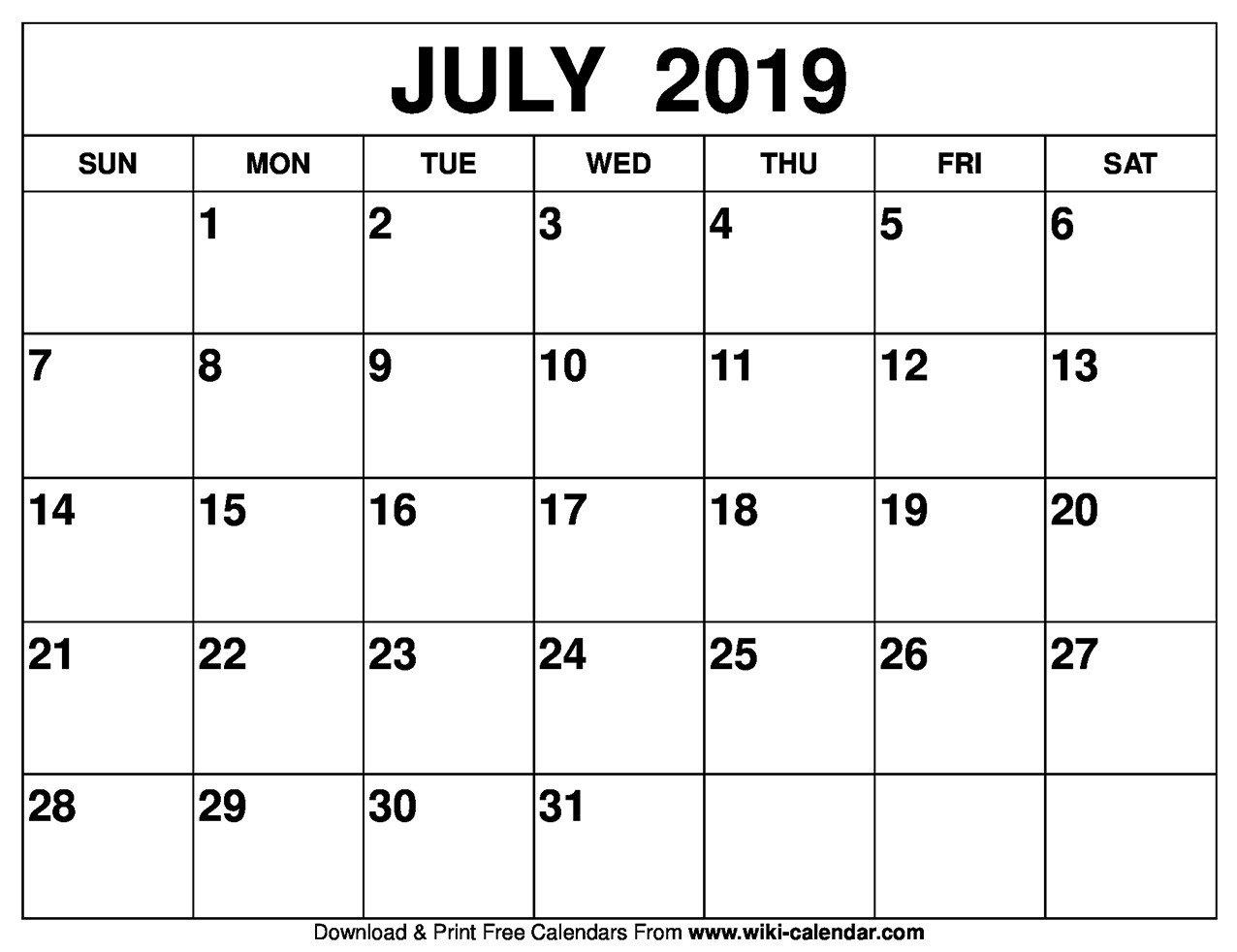 July 2019 Calendar – Sharon Gore – Medium July 1 2019 Calendar