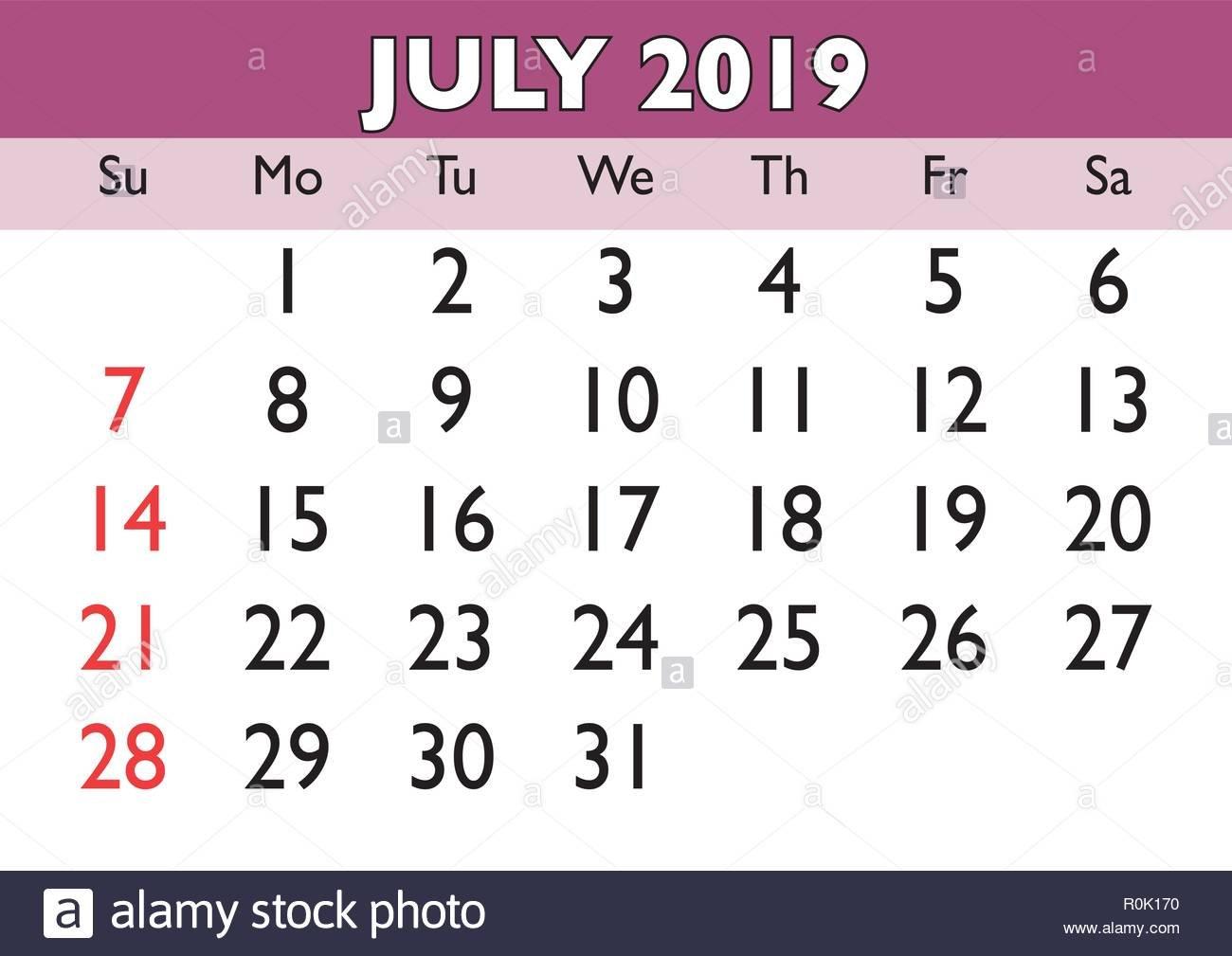 July 2019 Calendar Stock Photos & July 2019 Calendar Stock Images July 4 2019 Calendar