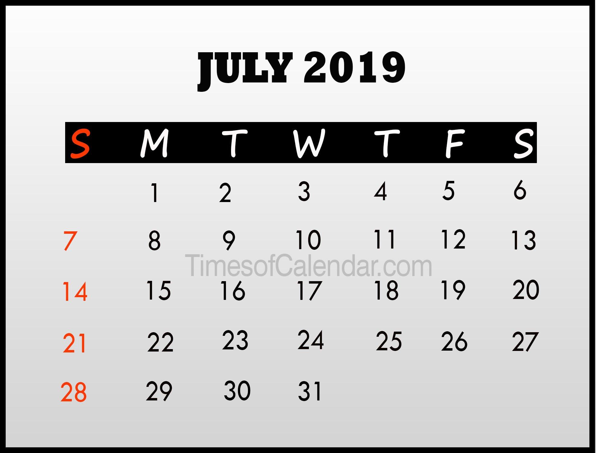 July 2019 Calendar Template – Times Of Calendar July 8 2019 Calendar