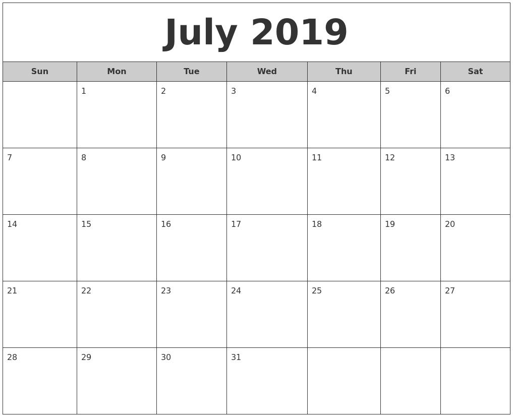 July 2019 Free Monthly Calendar Calendar 2019 Generator
