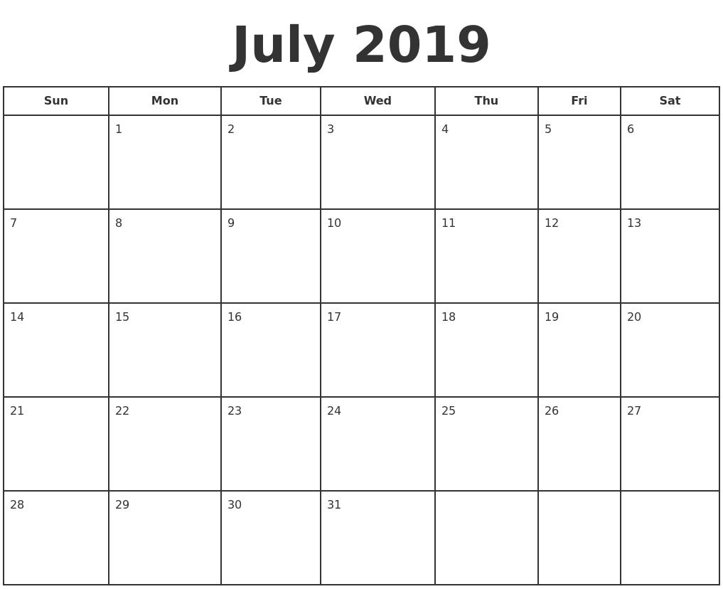 July 2019 Print A Calendar Print-A-Calendar 2019