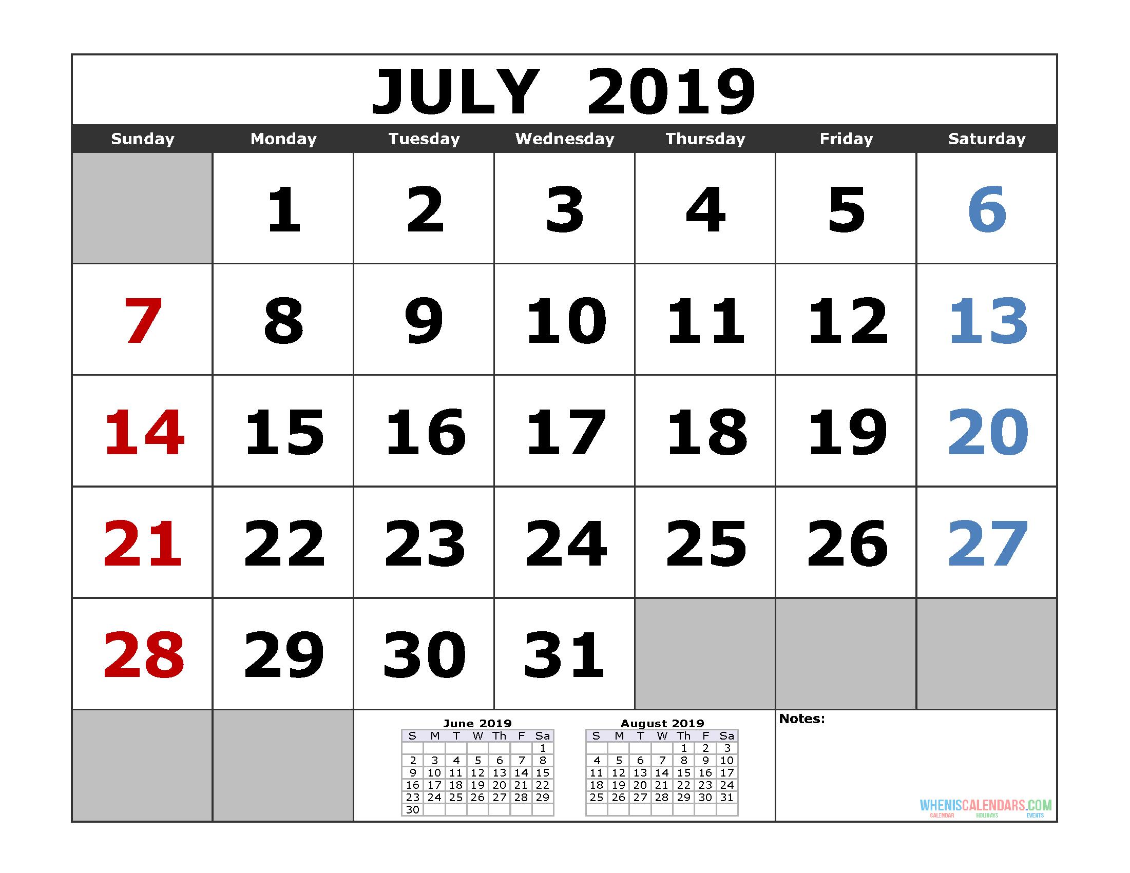 July 2019 Printable Calendar Template (3 Month Calendar)   Free June 7 2019 Calendar