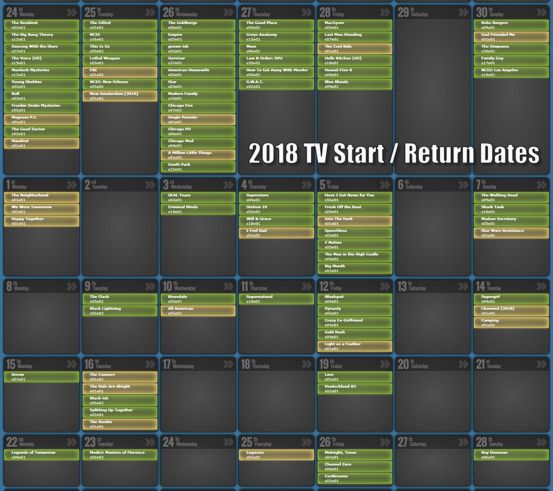July 2019 Tv Episode Calendar – Prime Time Tv Show Schedule & Tv Show A 2019 Calendar