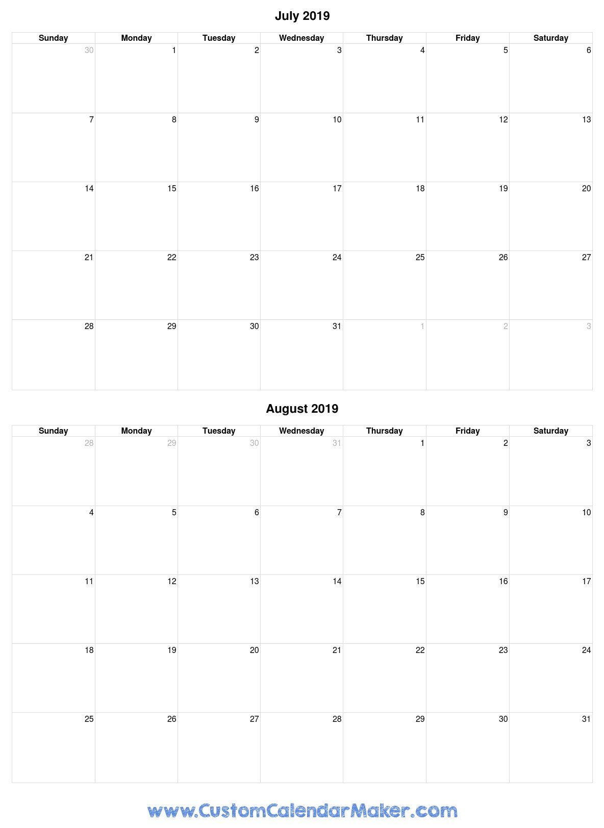 July And August 2019 Free Printable Calendar Template Calendar 2019 July August