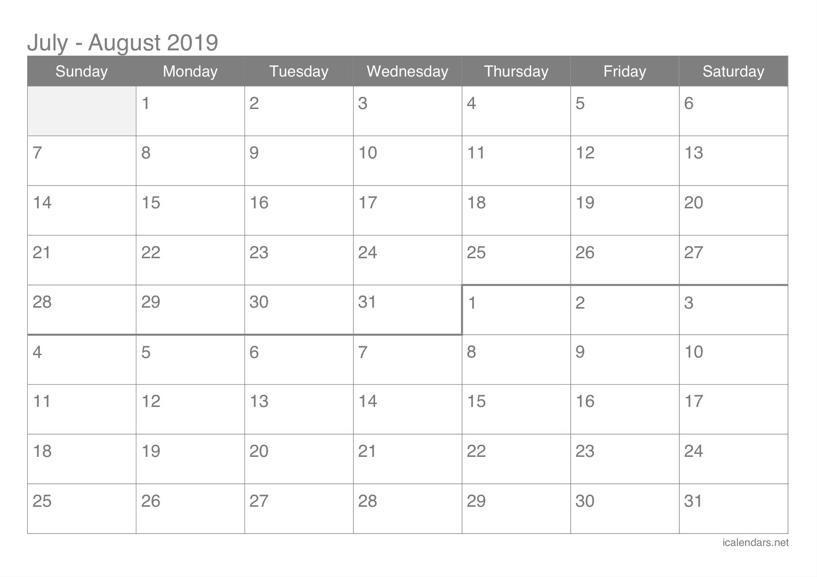 July And August 2019 Printable Calendar – Icalendars Calendar 2019 July August