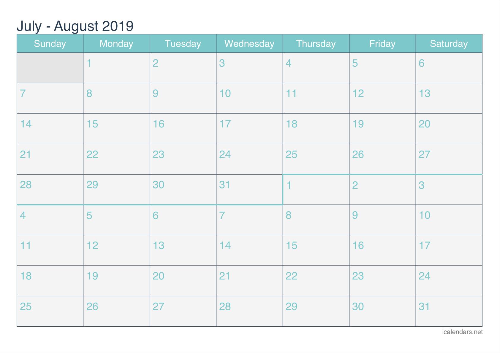 July And August 2019 Printable Calendar – Icalendars Calendar 2019 July