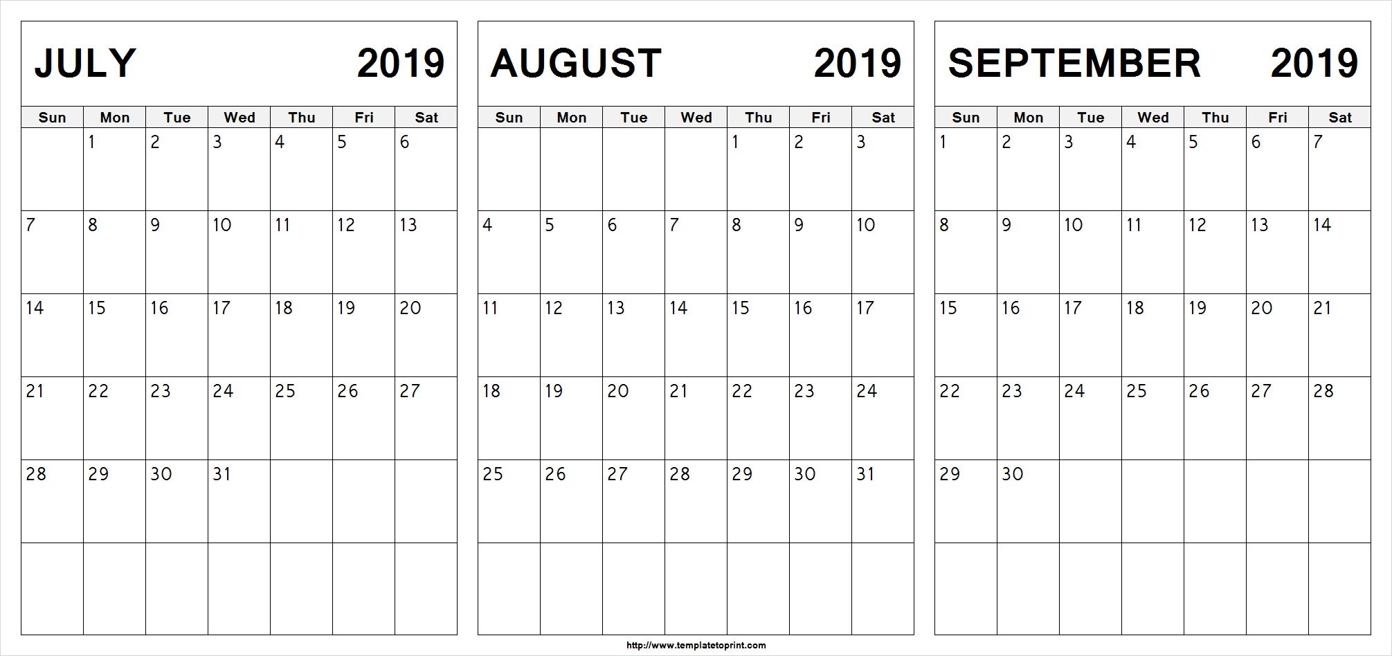 July August September 2019 Calendar | July Month Calendar 2019 Printable Calendar 2019 July August