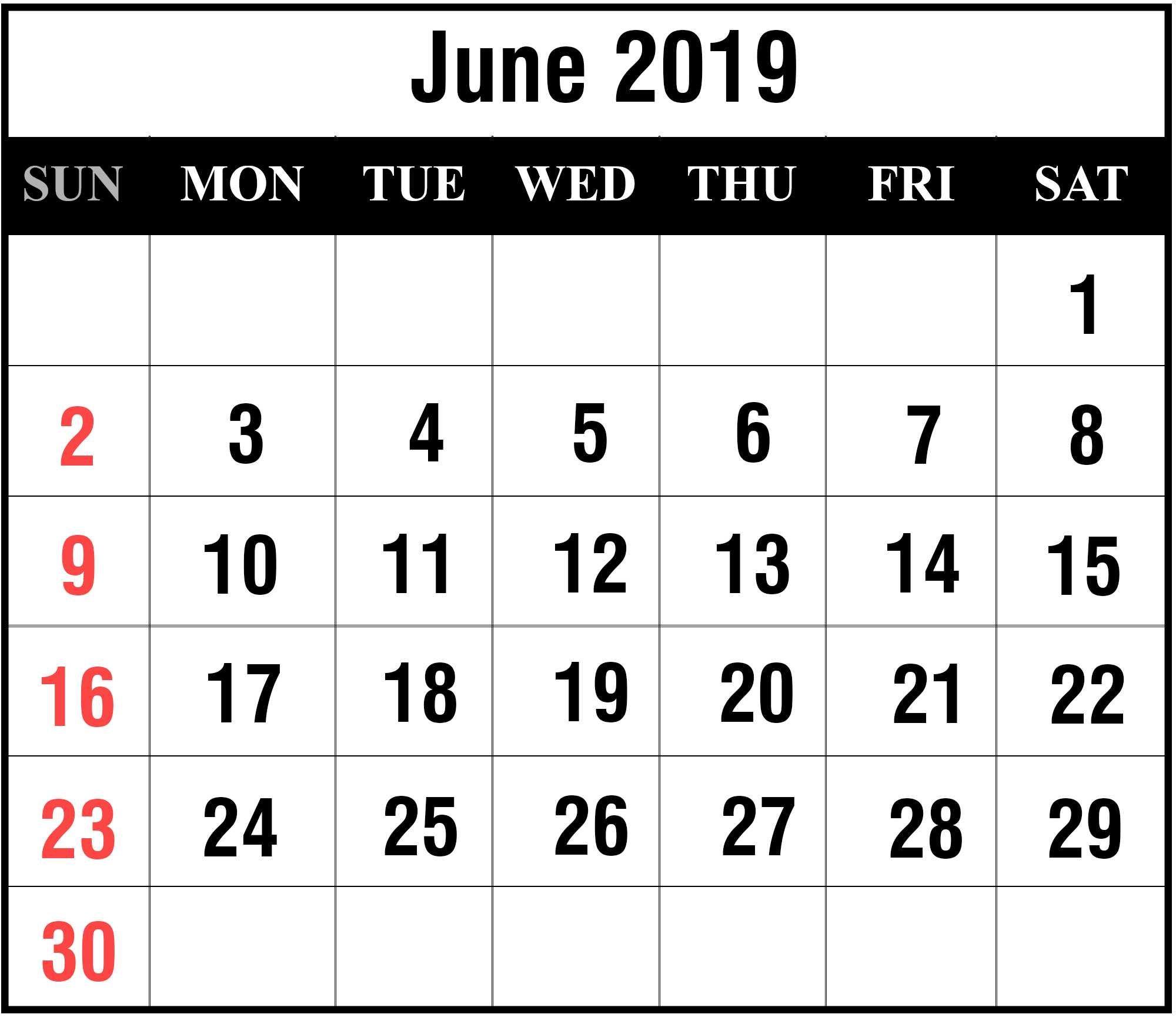June-2019-8 | Printable Template Calendar June 8 2019 Calendar