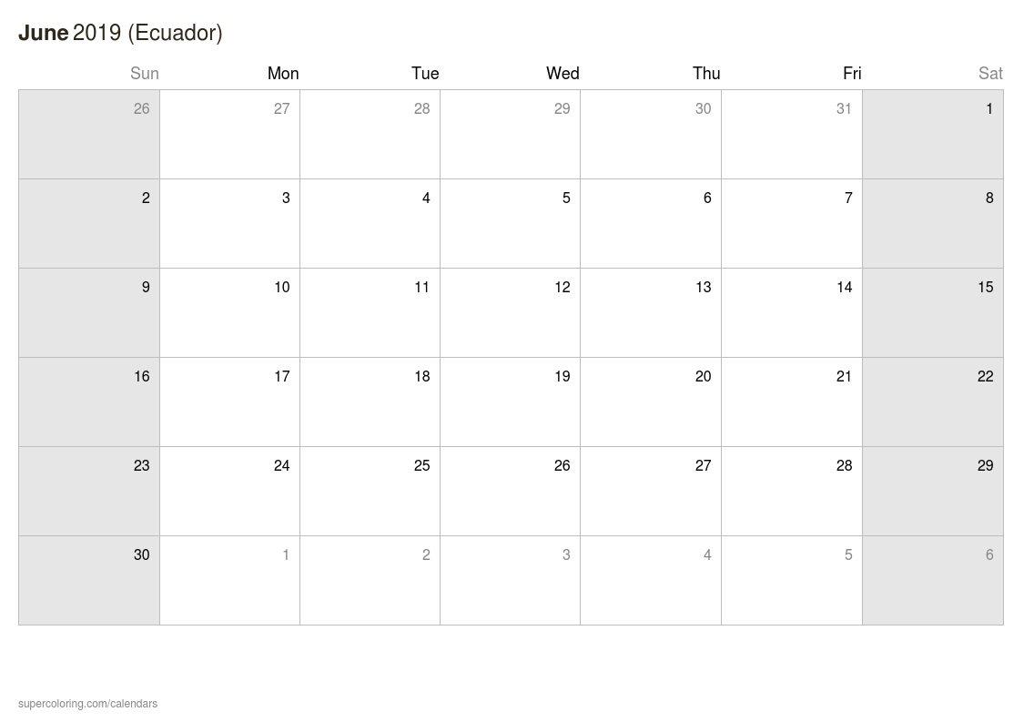 June 2019 Calendar – Ecuador Calendar 2019 Ecuador