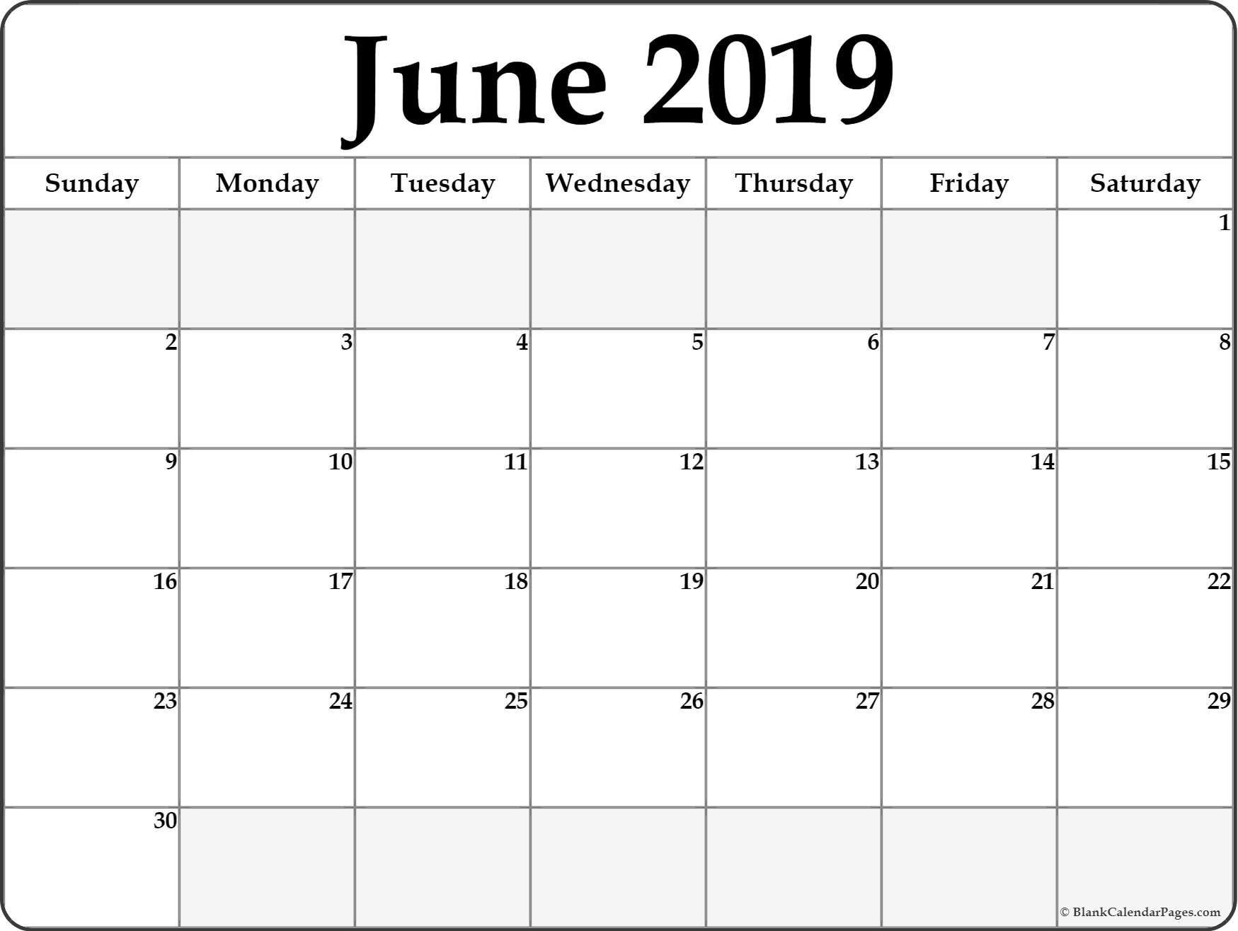 June 2019 Calendar   Free Printable Monthly Calendars June 2 2019 Calendar