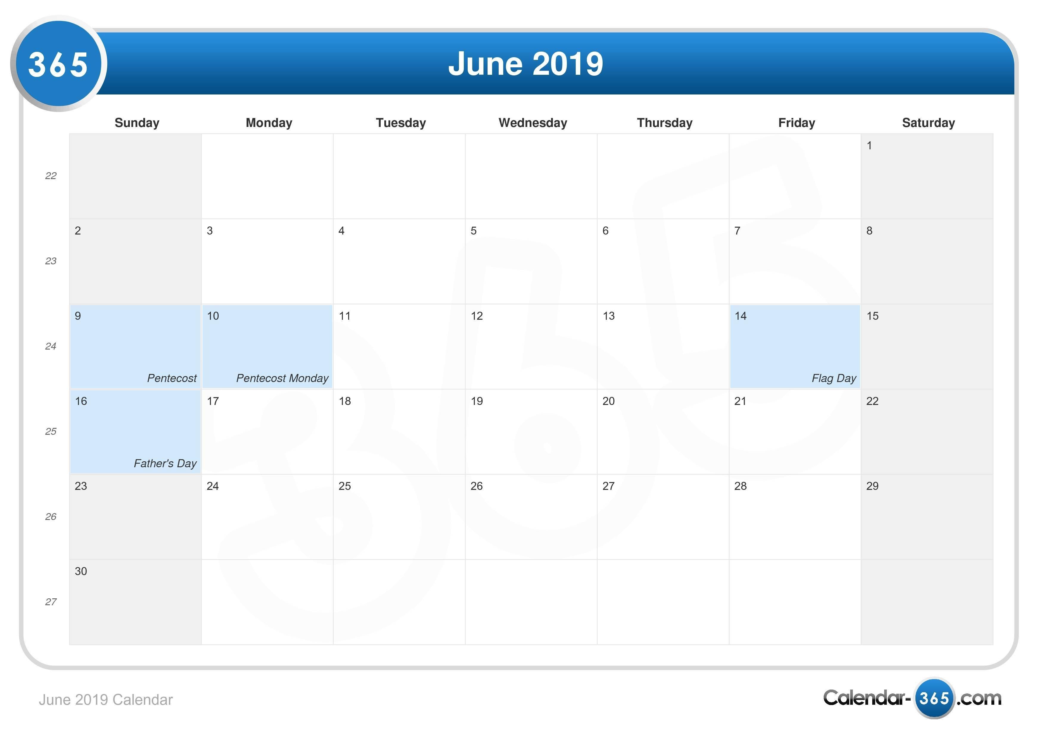 June 2019 Calendar June 4 2019 Calendar