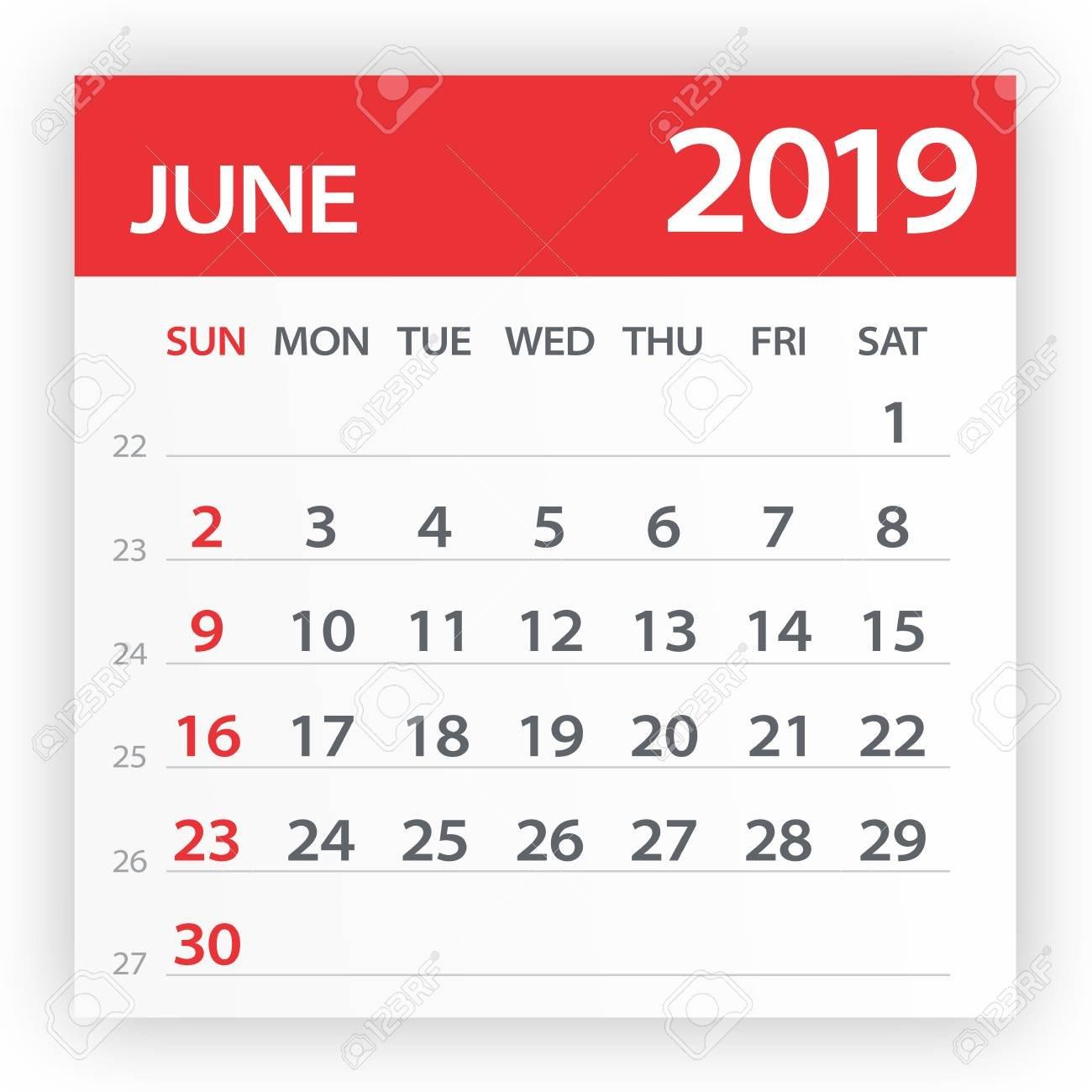June 2019 Calendar Leaf – Illustration. Vector Graphic Page Royalty Calendar 2019 Clipart