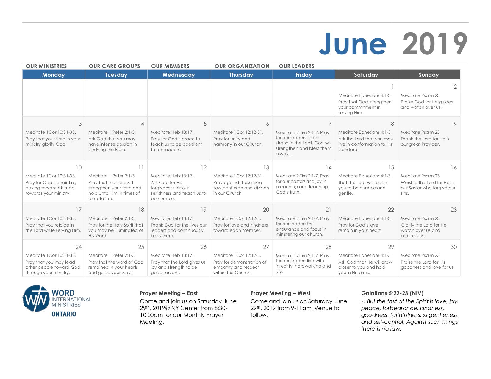 June 2019 Calendar Min – Word International Ministries Of Ontario Calendar 2019 Ontario