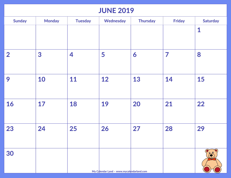 June 2019 Calendar – My Calendar Land Calendar 2019 Themes
