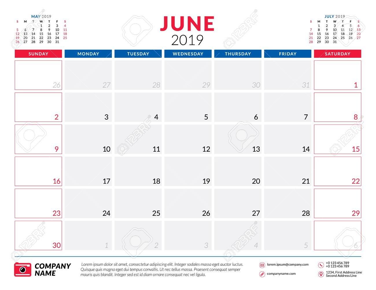 June 2019. Calendar Planner Stationery Design Template. Vector June 7 2019 Calendar