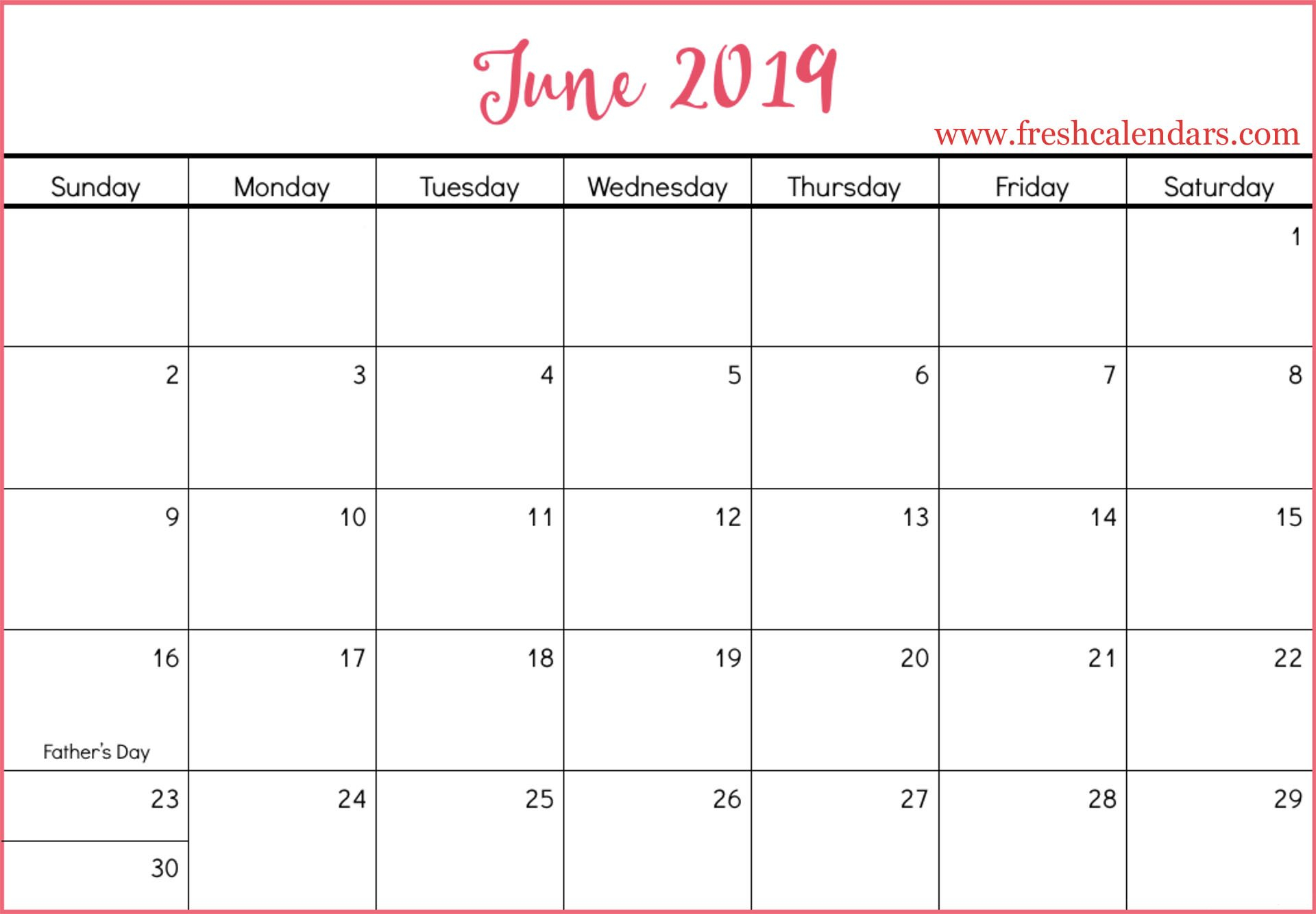 June 2019 Calendar Printable – Fresh Calendars Calendar Of 2019 June