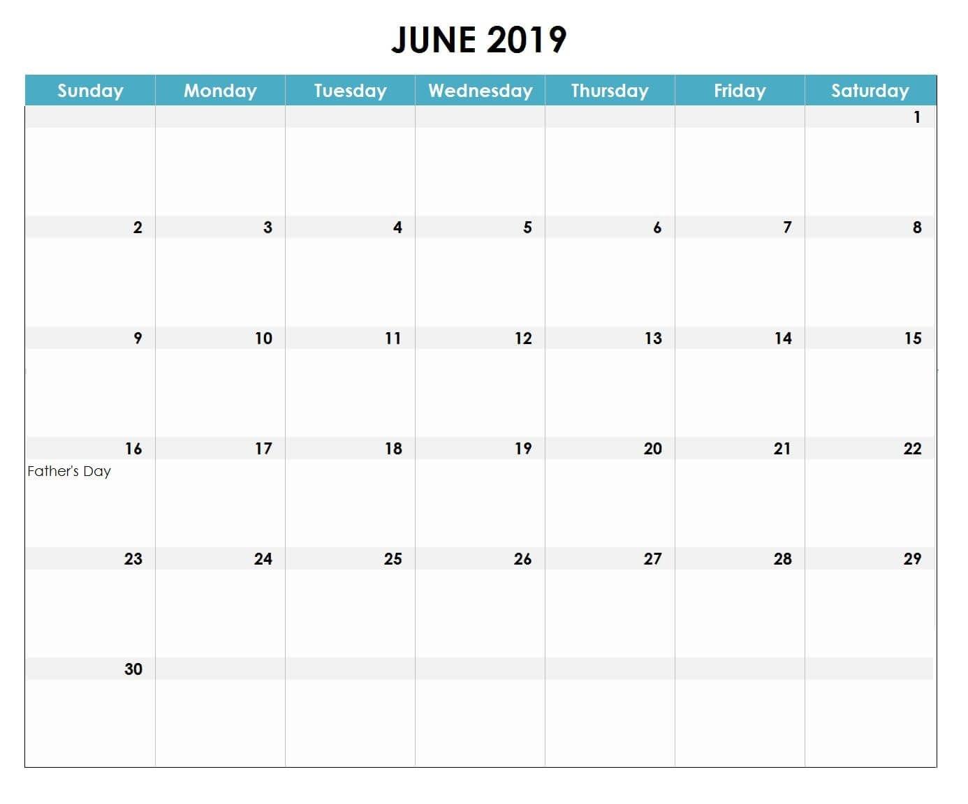 June 2019 Excel Calendar #2019 #2019Calendar #2019Excelcalendar Calendar 2019 Excel Canada