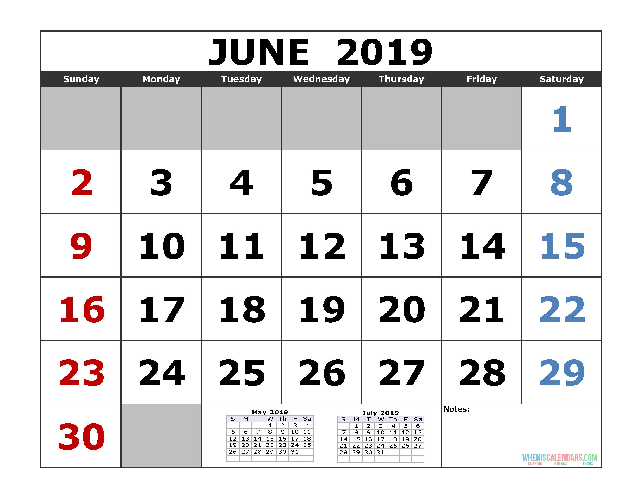June 2019 Printable Calendar Template (3 Month Calendar)   Free June 7 2019 Calendar