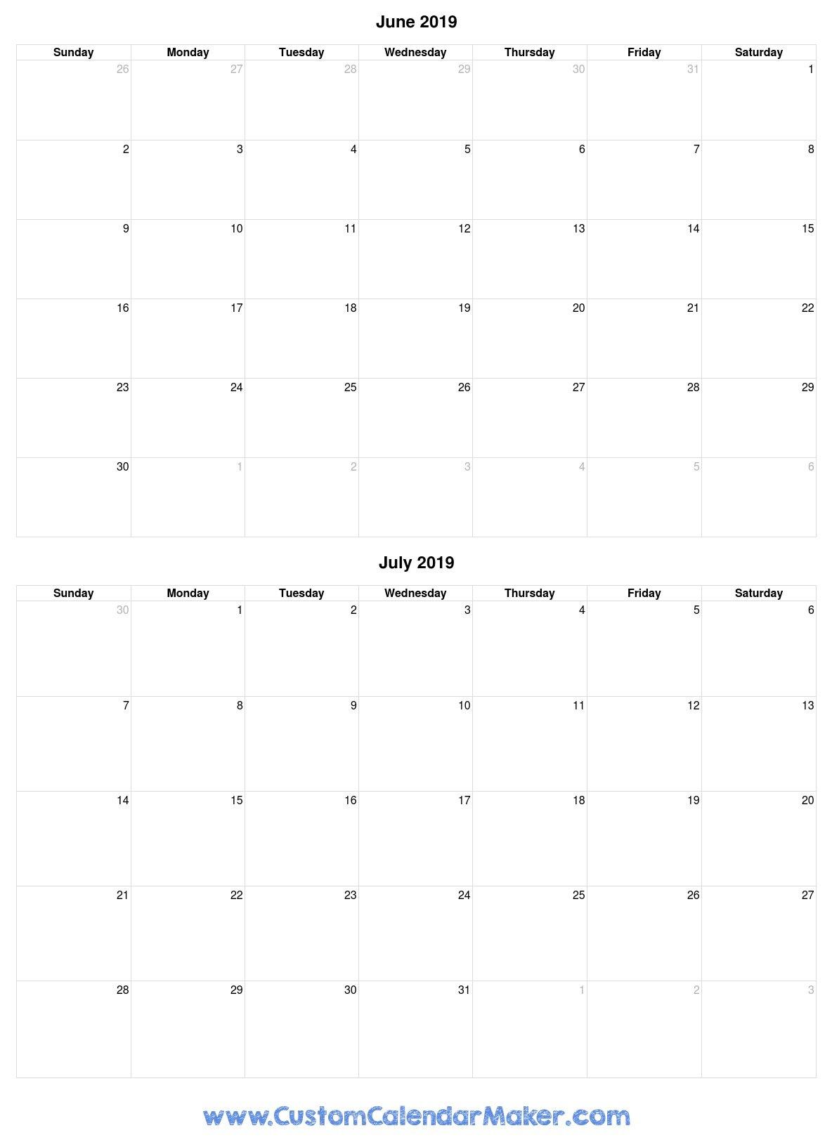 June And July 2019 Free Printable Calendar Template Calendar 2019 June July