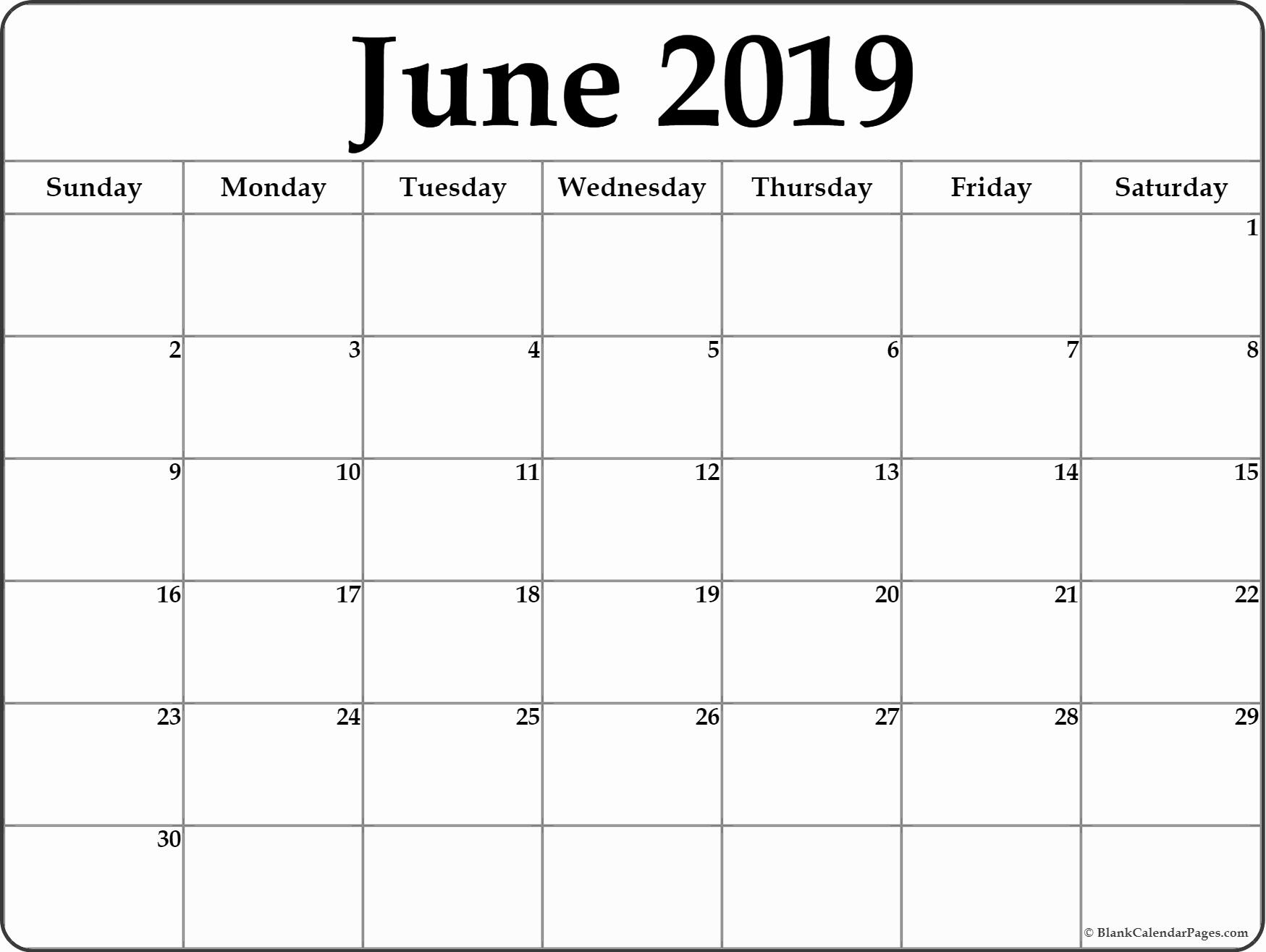 June Printable Calendar 2019 Word June 2019 Calendar Printable Calendar 2019 Word