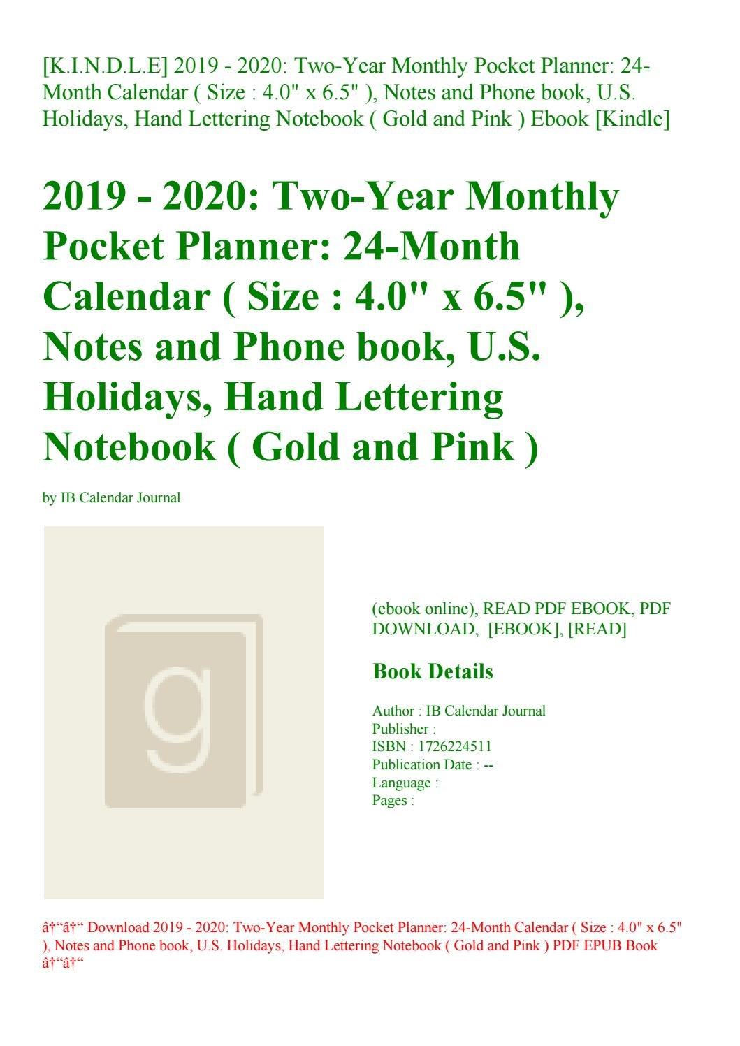 K.i.n.d.l.e] 2019 – 2020 Two Year Monthly Pocket Planner 24 Month U Of L Calendar 2019
