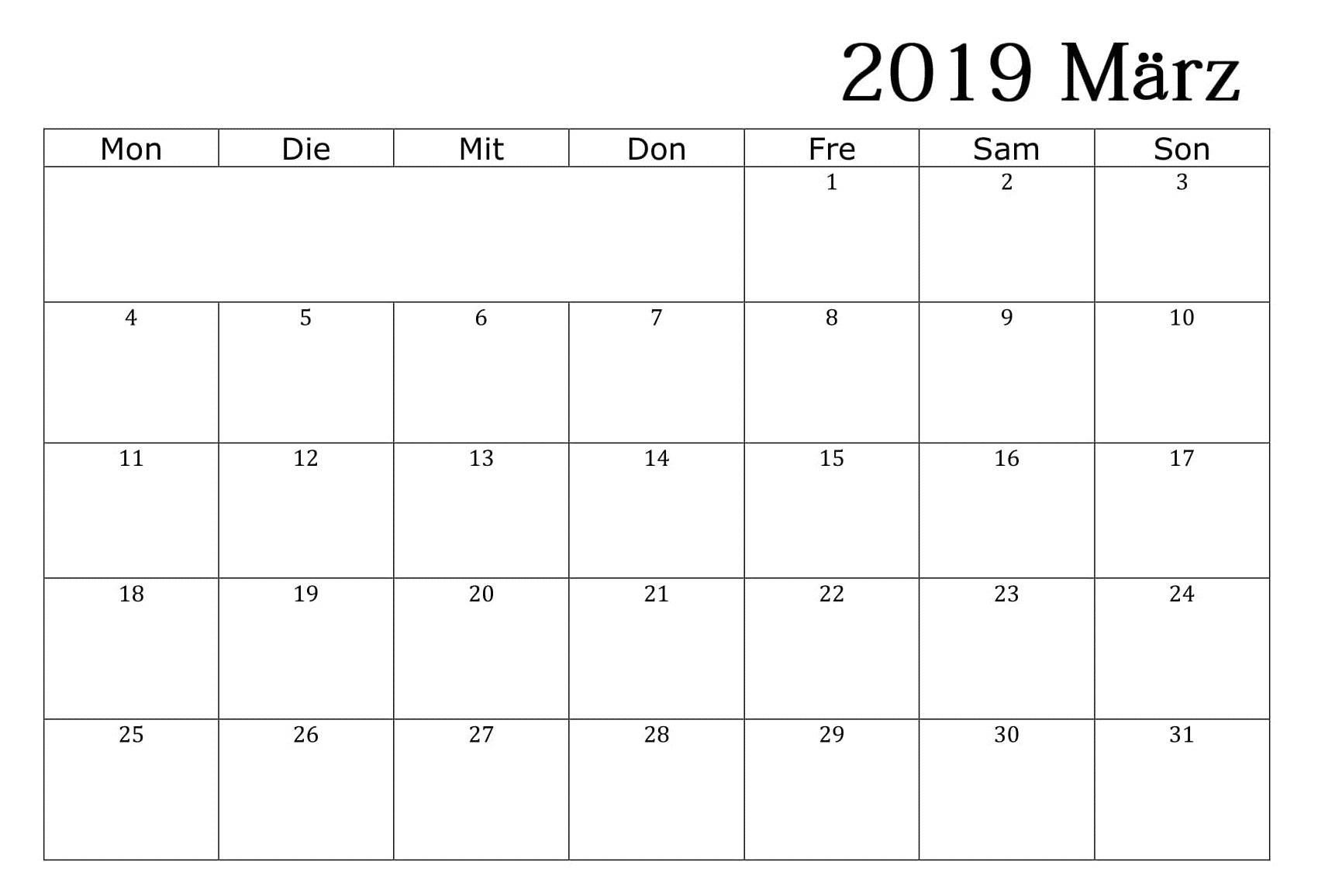 Kalender März 2019 Word – Free Printable Calendar, Templates And Calendar 2019 Word
