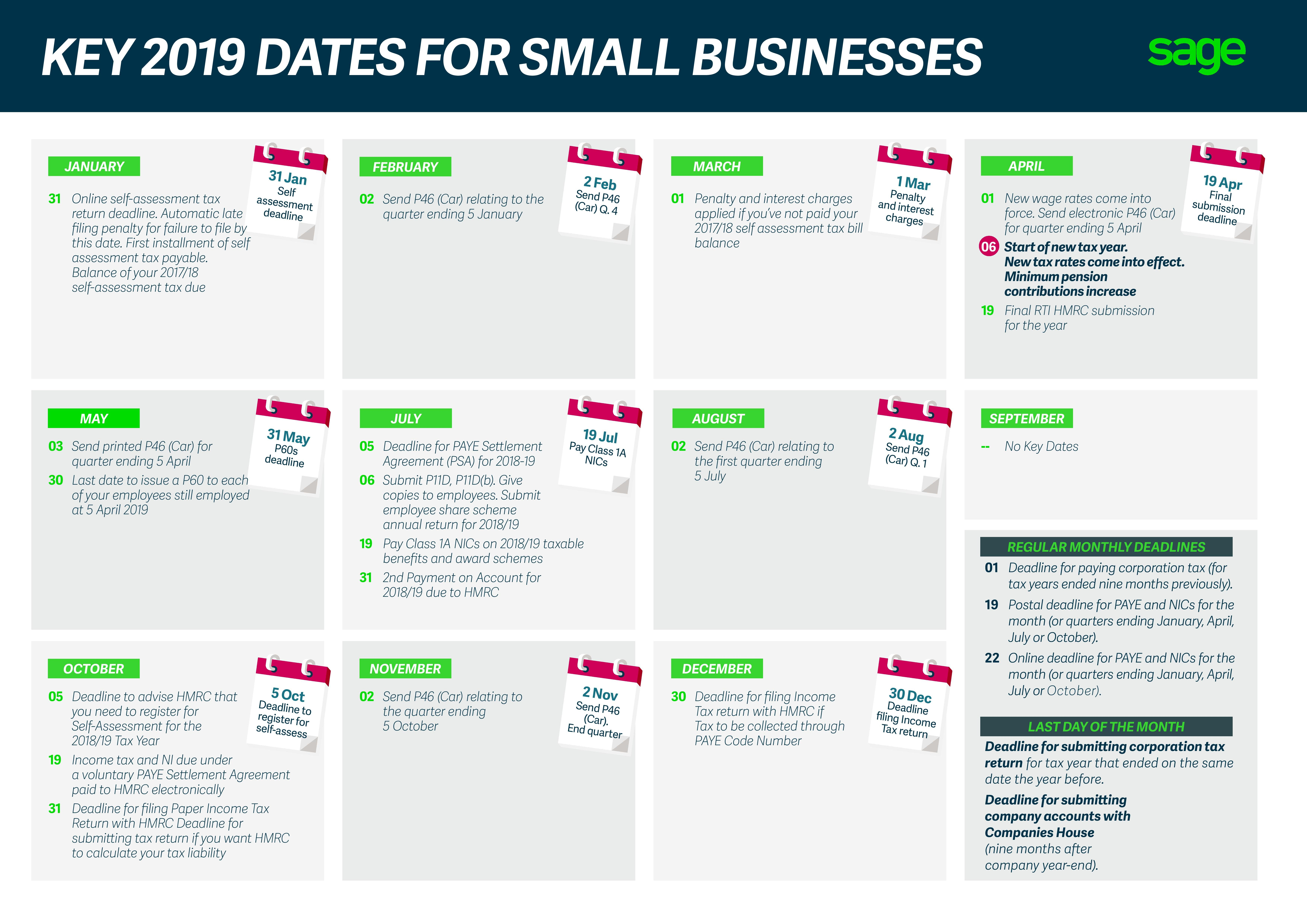 Key 2019 Dates For Small Businesses Calendar 2019 Rates