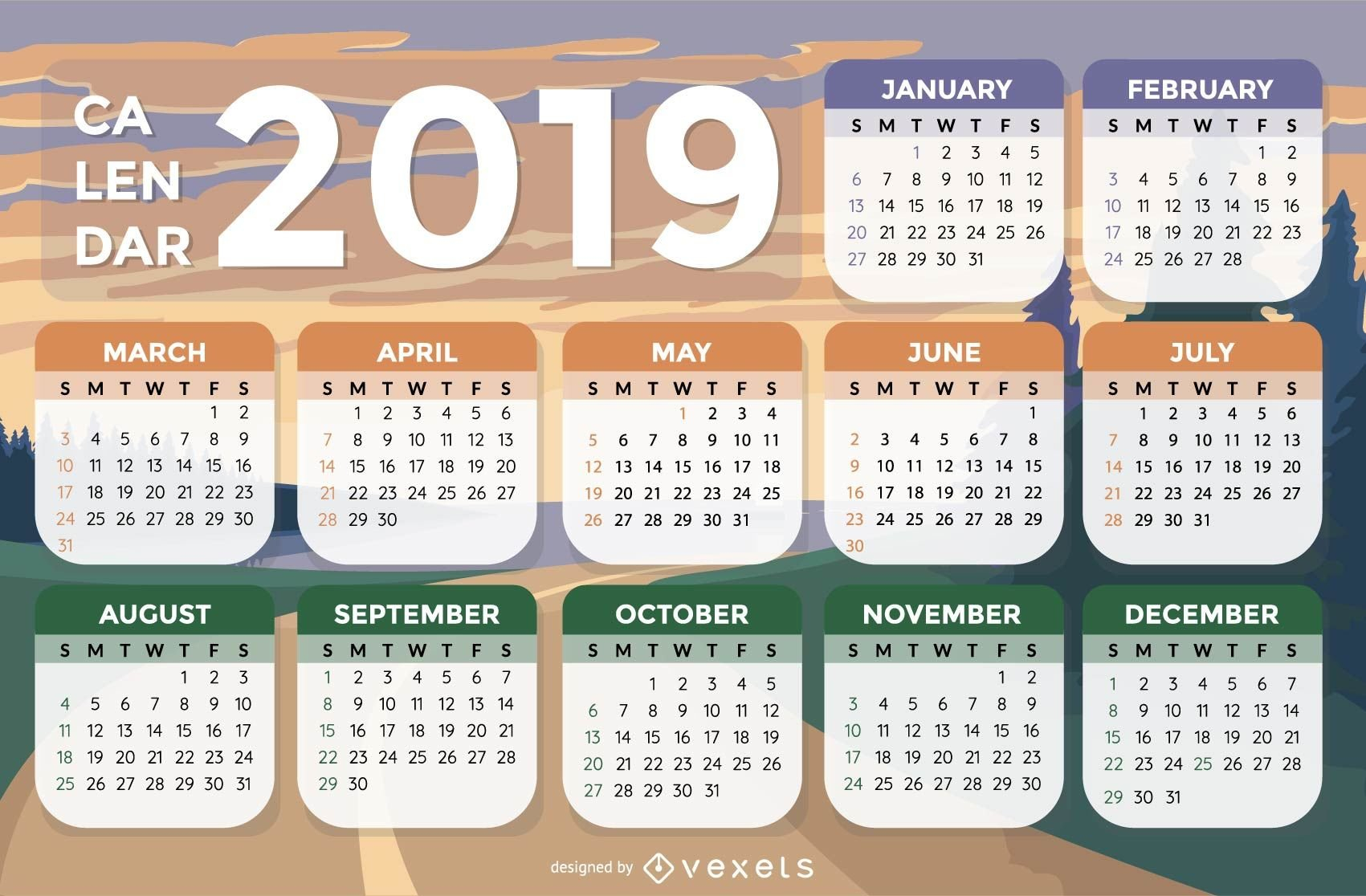 Landscape Background 2019 Calendar Design – Vector Download Calendar 2019 Landscape