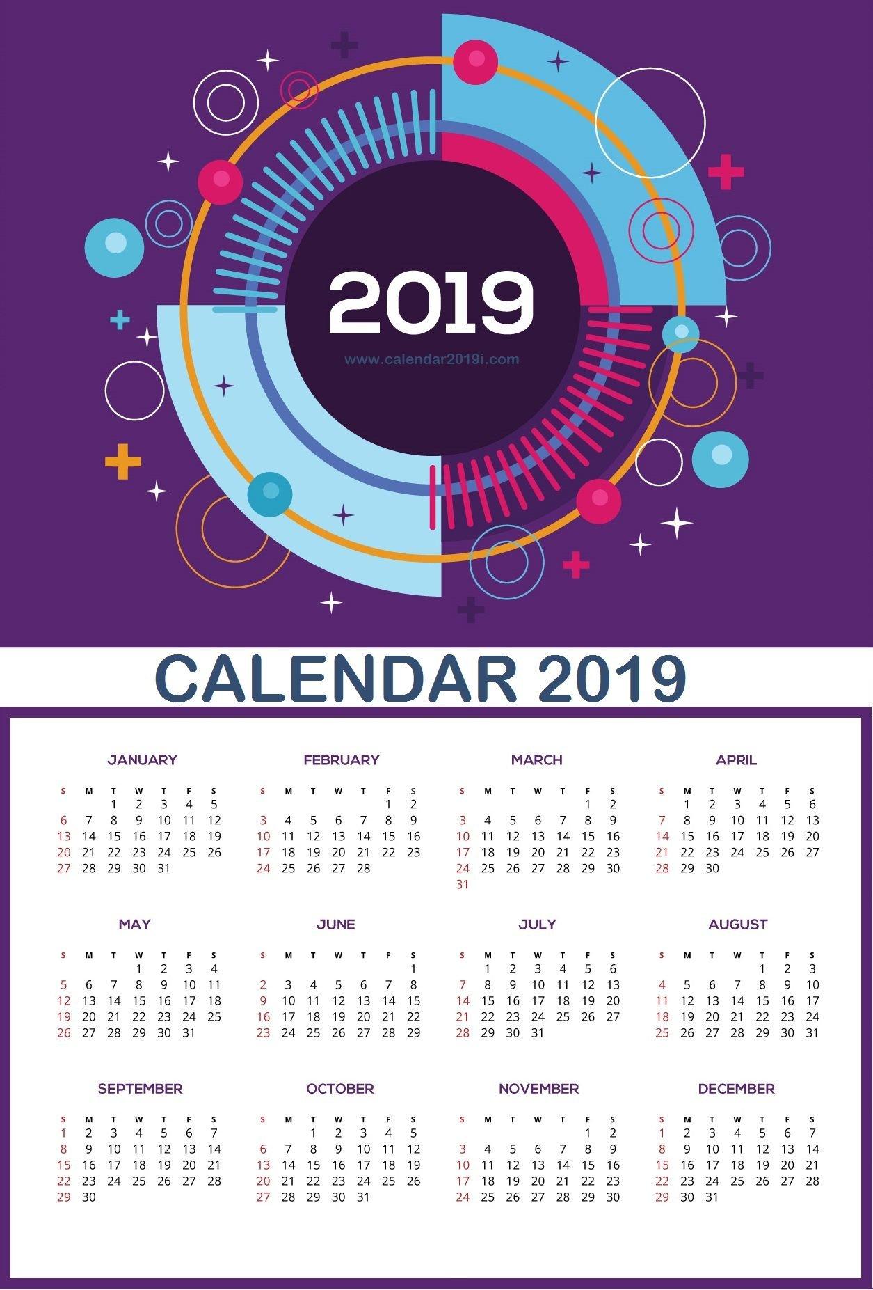 Large Wall Calendar 2019   Planner   Wall Calendar Design, Monthly Calendar 2019 Wall