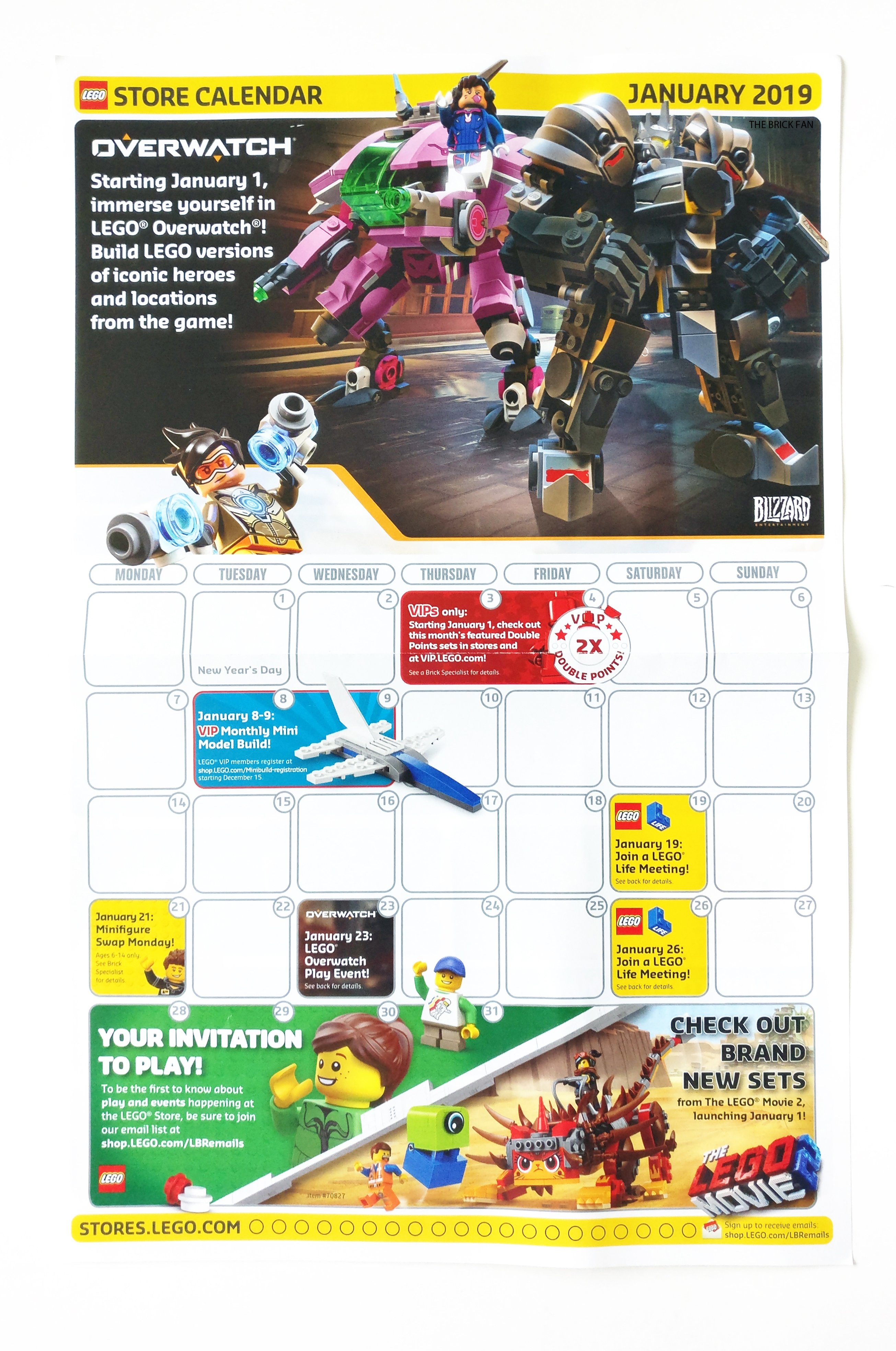 Lego January 2019 Store Calendar Promotions & Events – The Brick Fan Calendar 2019 In Stores