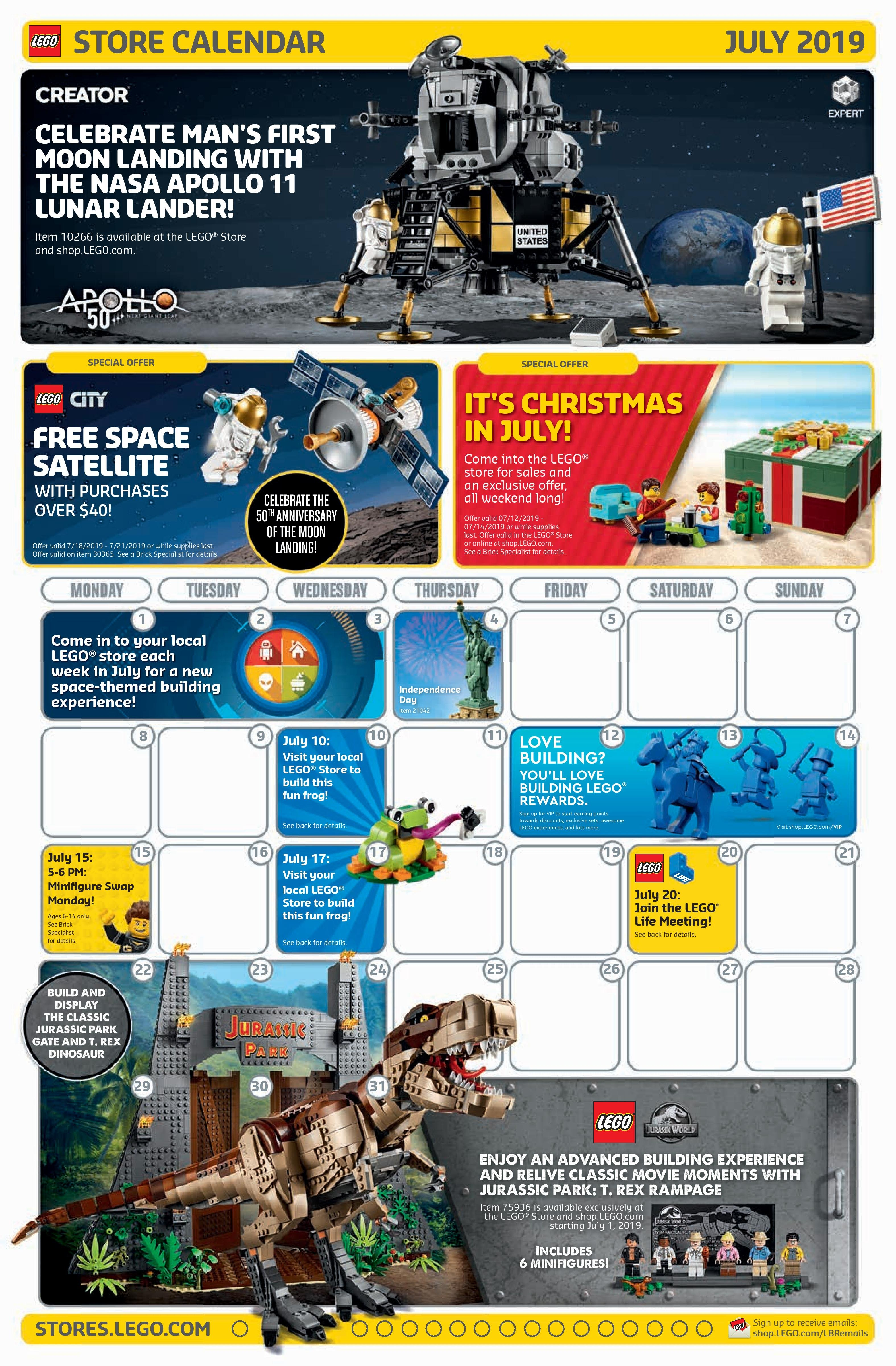 Lego July 2019 Store Calendar Promotions & Events - The Brick Fan Calendar 2019 In Stores