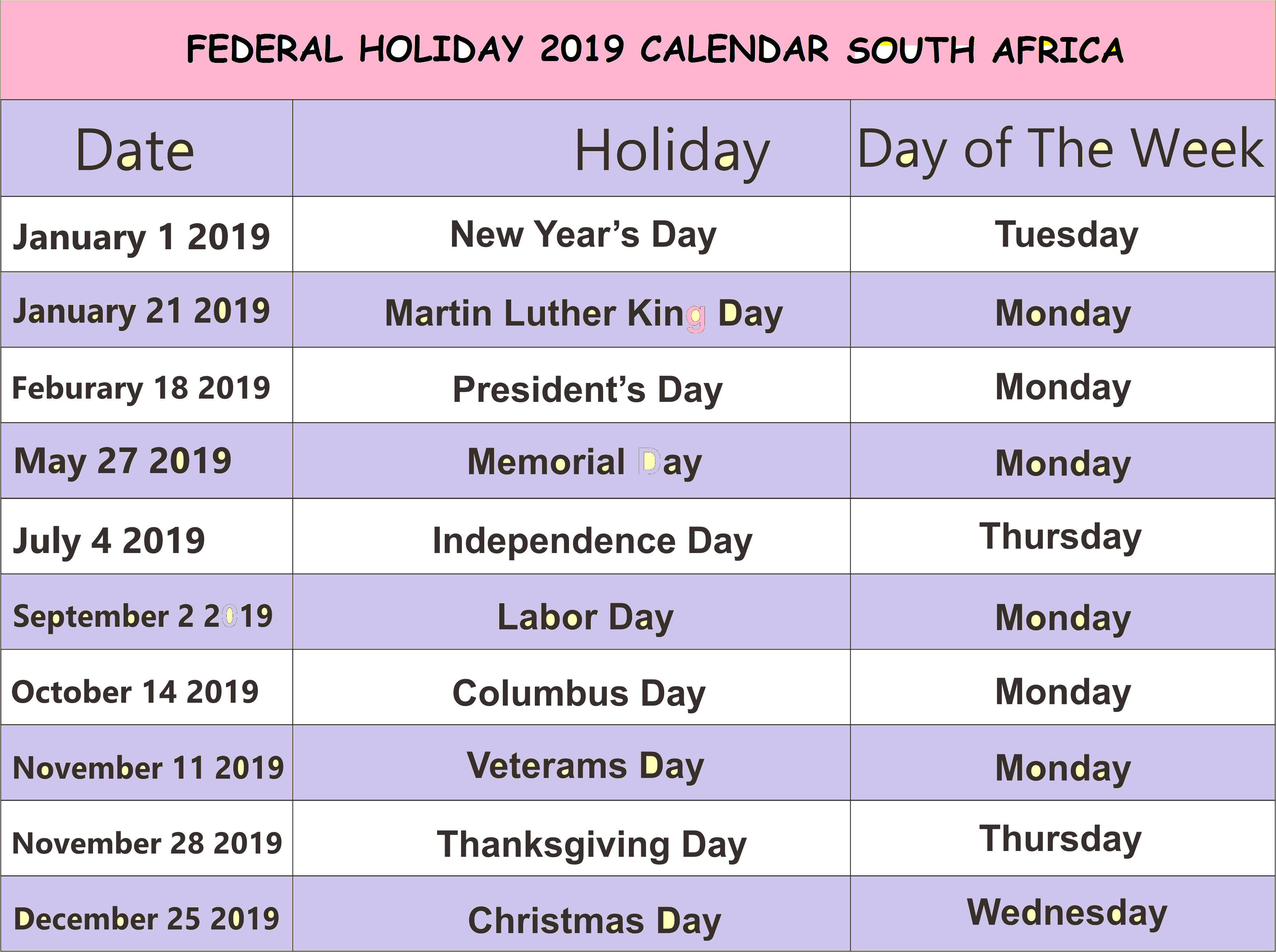 Lovely 43 Illustration Federal Holidays 2019 South Africa   Laboole Calendar 2019 Federal Holidays