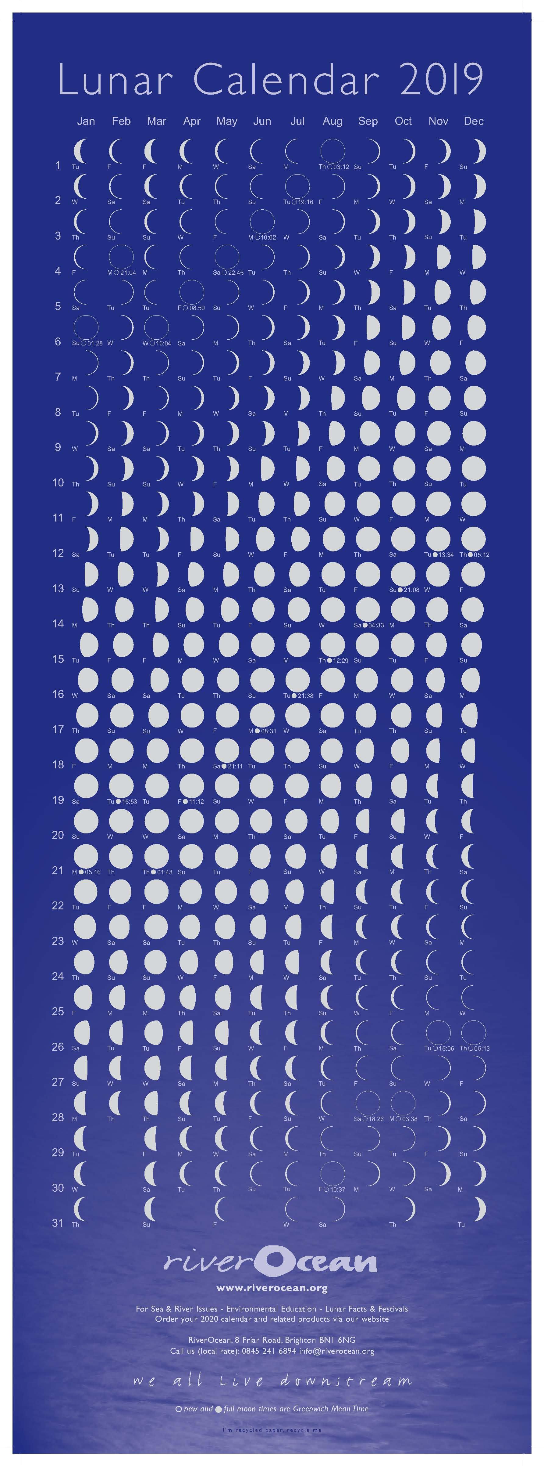 Lunar Calendar 2019 – Riverocean Calendar 2019 Lunar