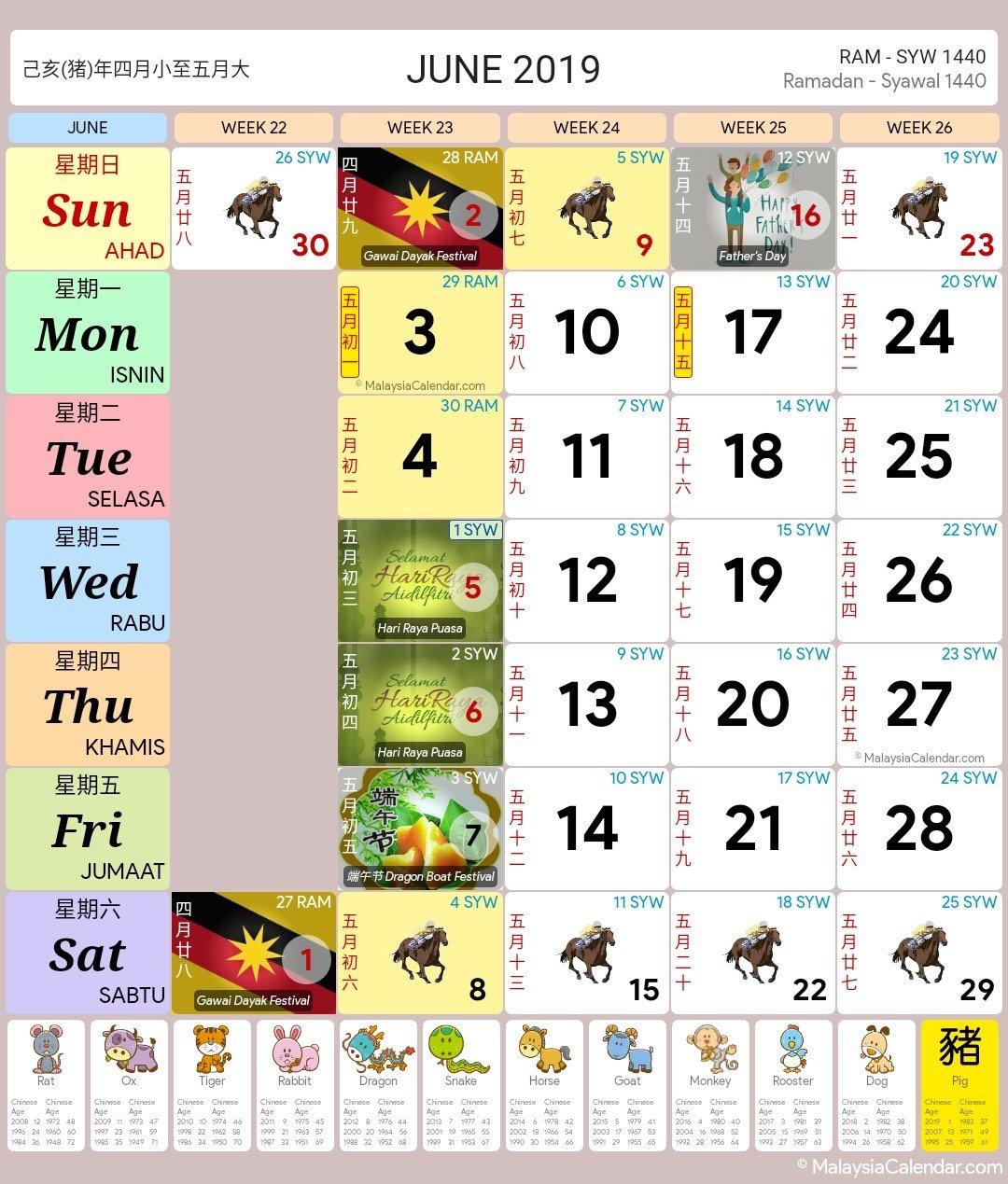 Malaysia Calendar – Blog Calendar Bulan 6 2019