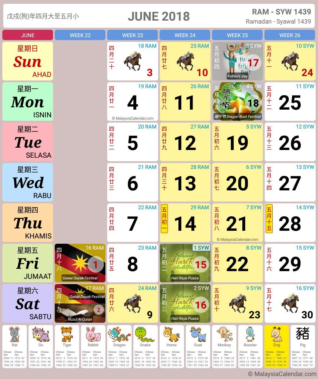 Malaysia Calendar Year 2018 (School Holiday) – Malaysia Calendar Calendar Bulan 6 2019