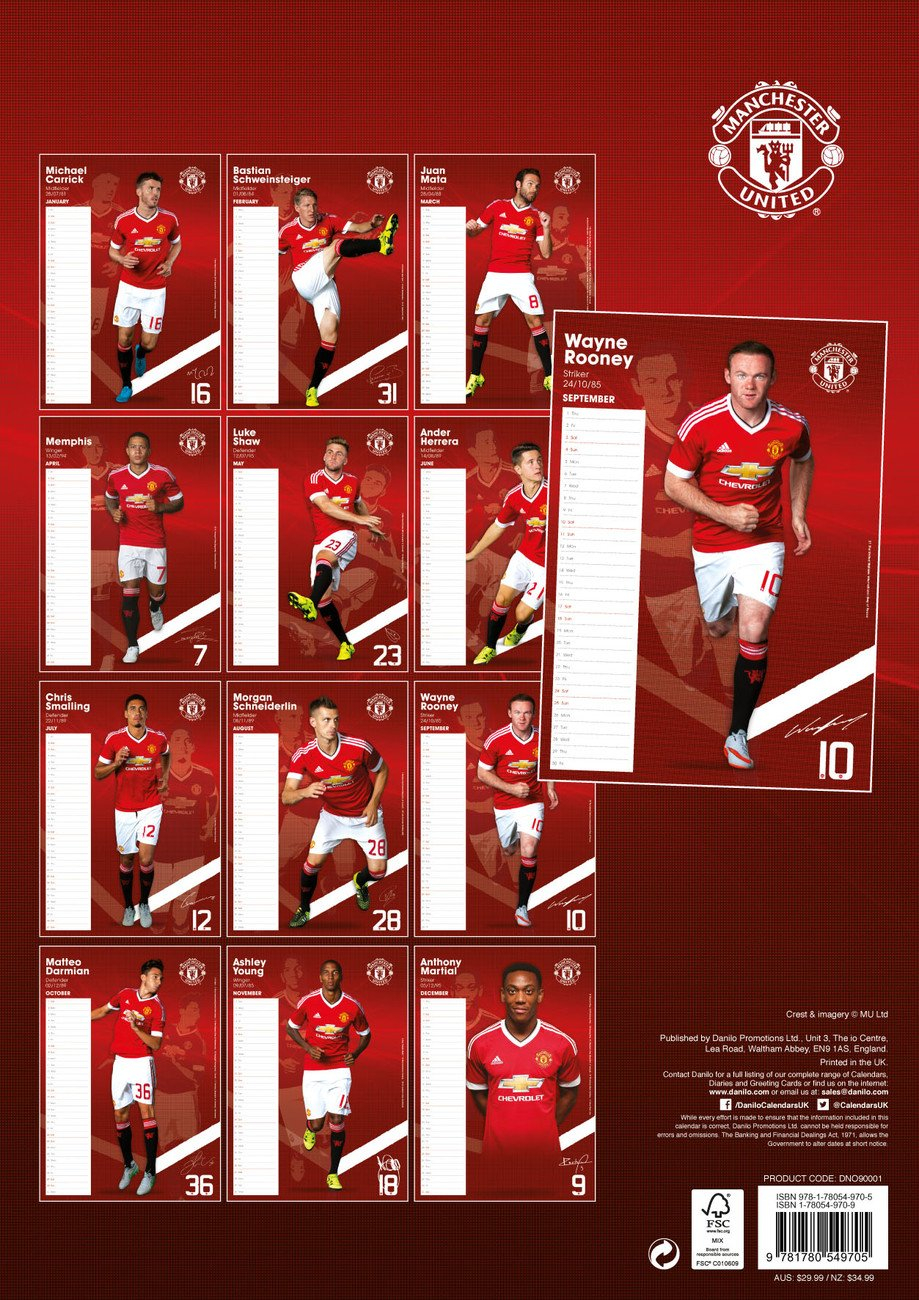 Manchester United Fc Календарі 2020 На Europosters Man U Calendar 2019