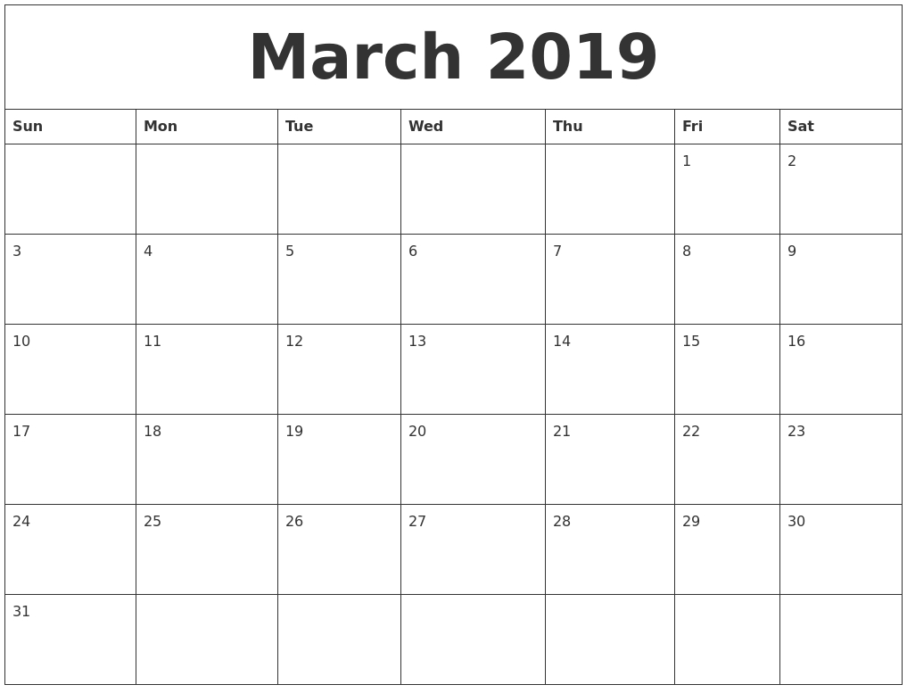 March 2019 Calendar Calendar 2019 March April