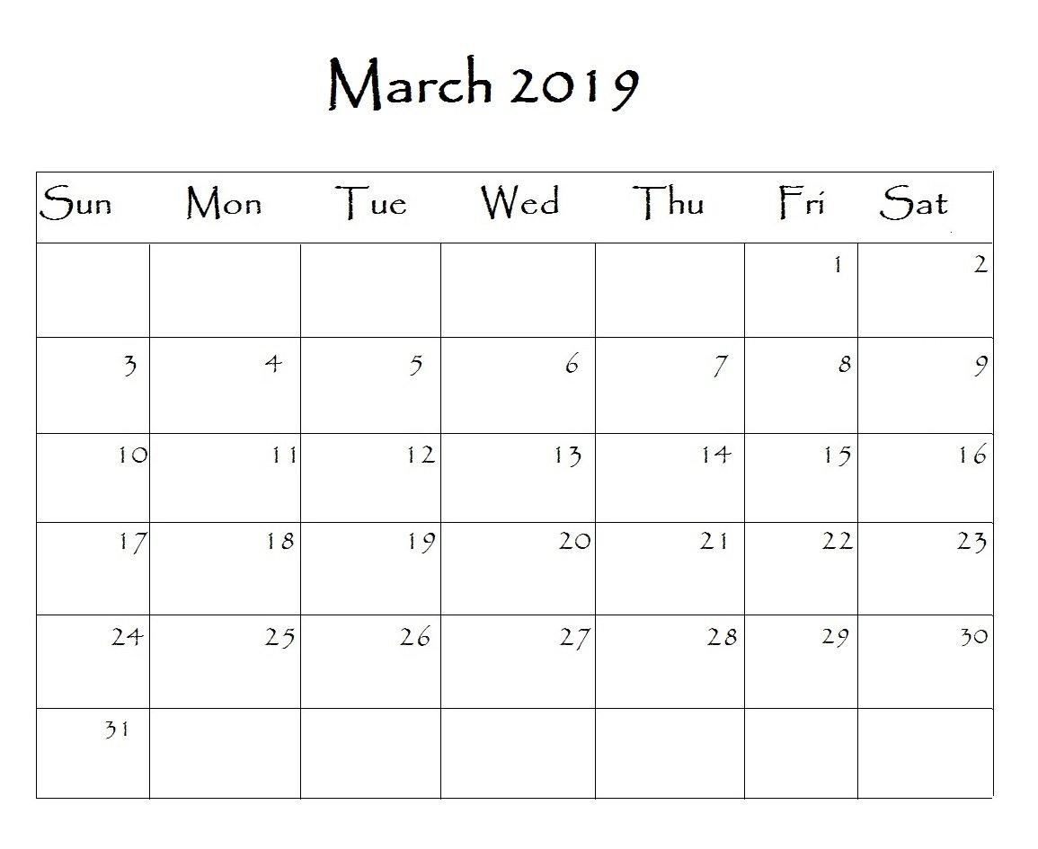 March 2019 Calendar Editable Blank Images Printable Free Download Calendar 2019 Editable